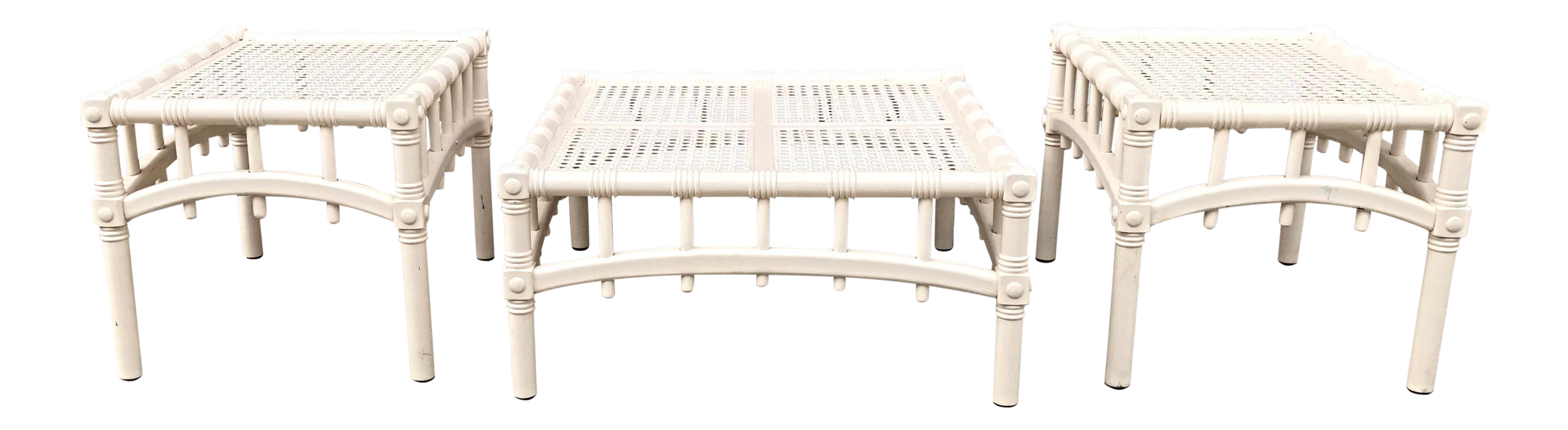 Mid Century White Rattan Coffee Amp End Tables Set Of 3