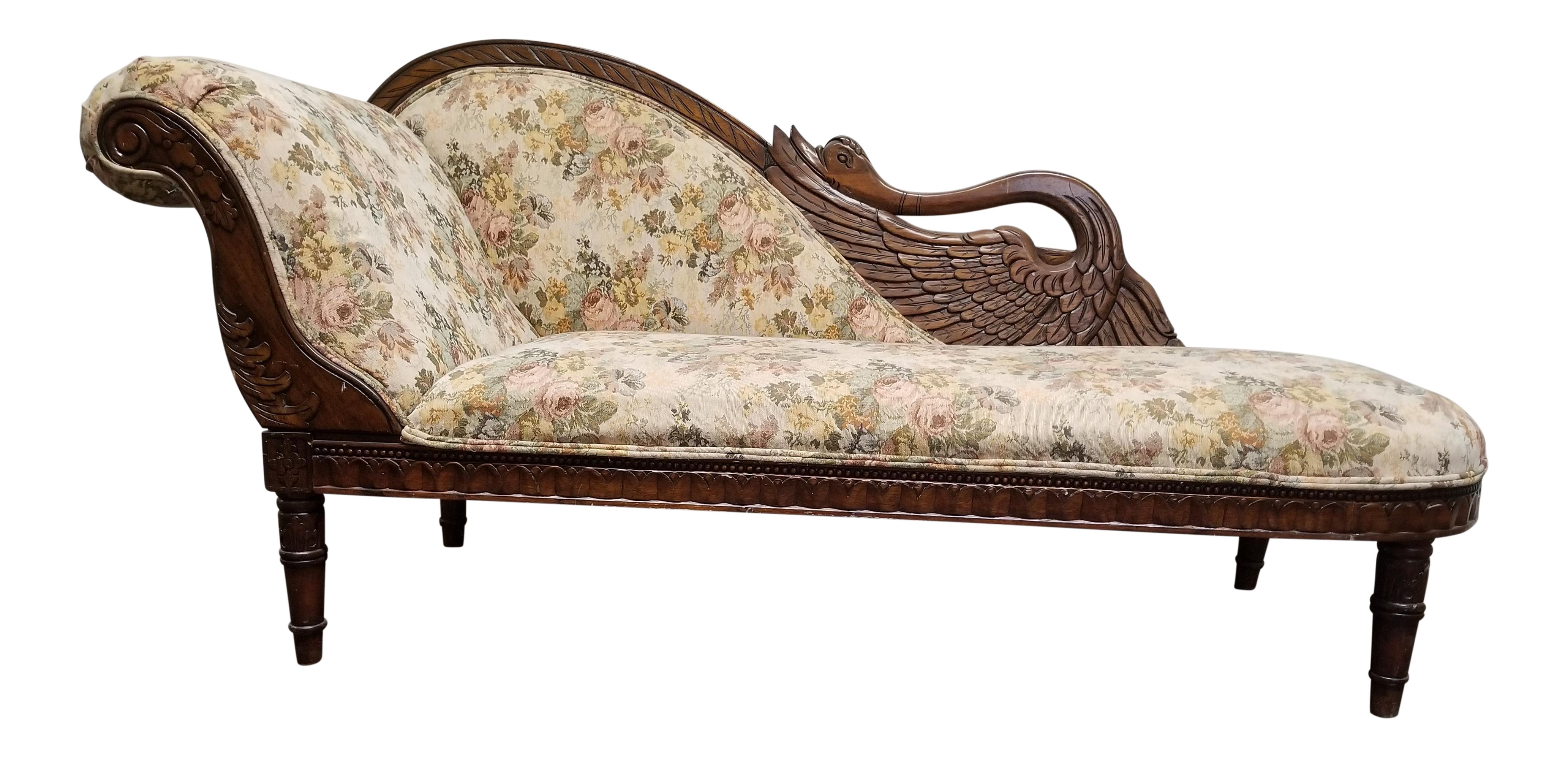 Antique Victorian Floral Swan Chaise Lounge Chairish
