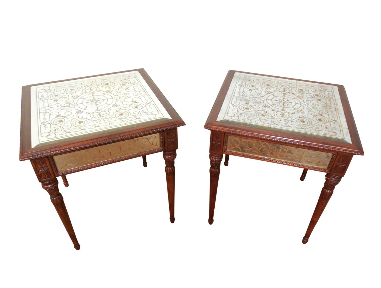 jonathan charles venetian eglomise tables - a pair | chairish