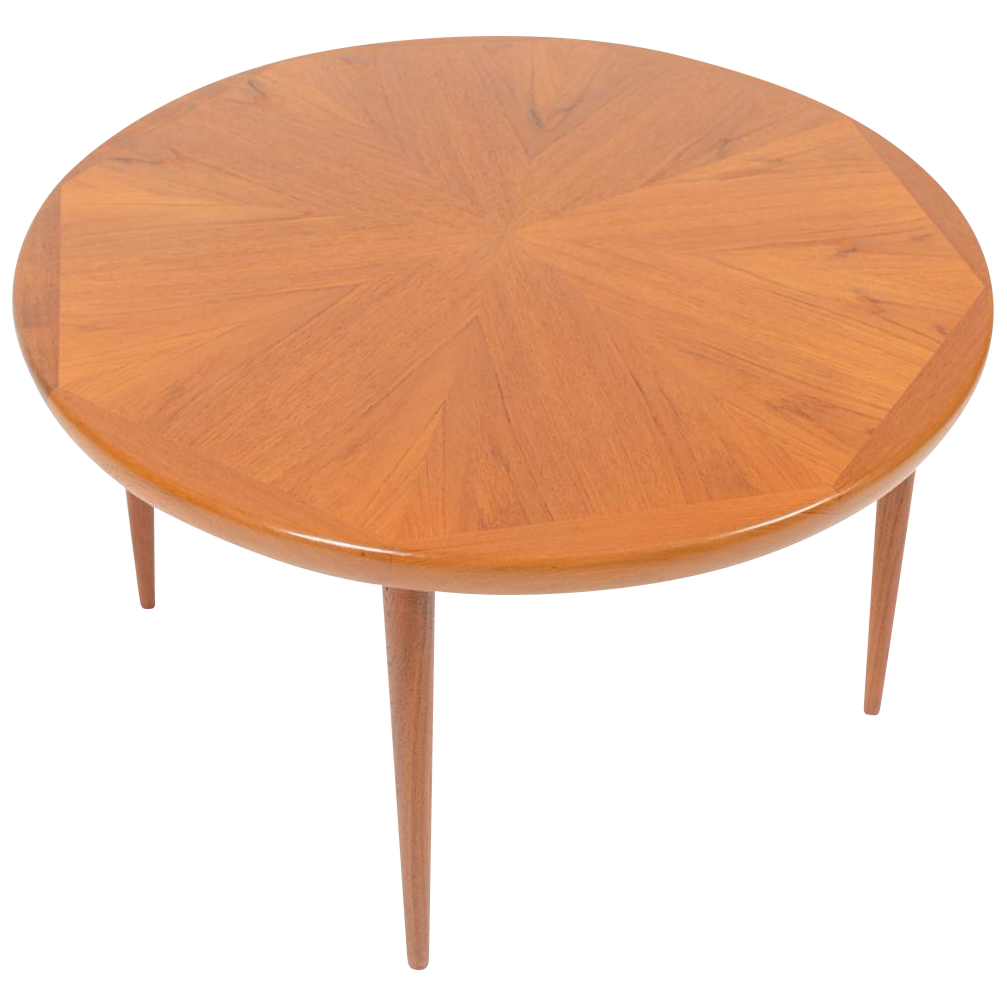 Low Round Teak Coffee Table: Danish Modern Round Starburst Teak Coffee Table