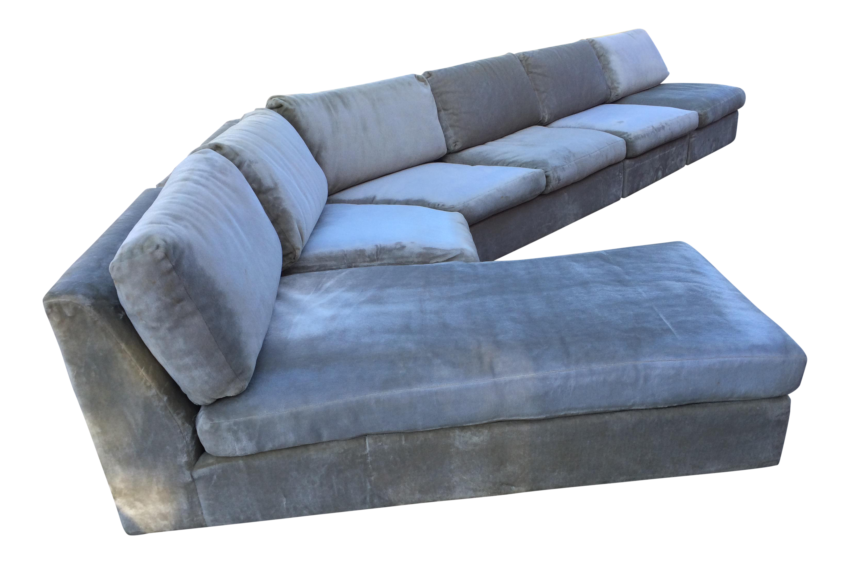 image of 1960s midcentury modern curved sectional sofa style of harvey probber