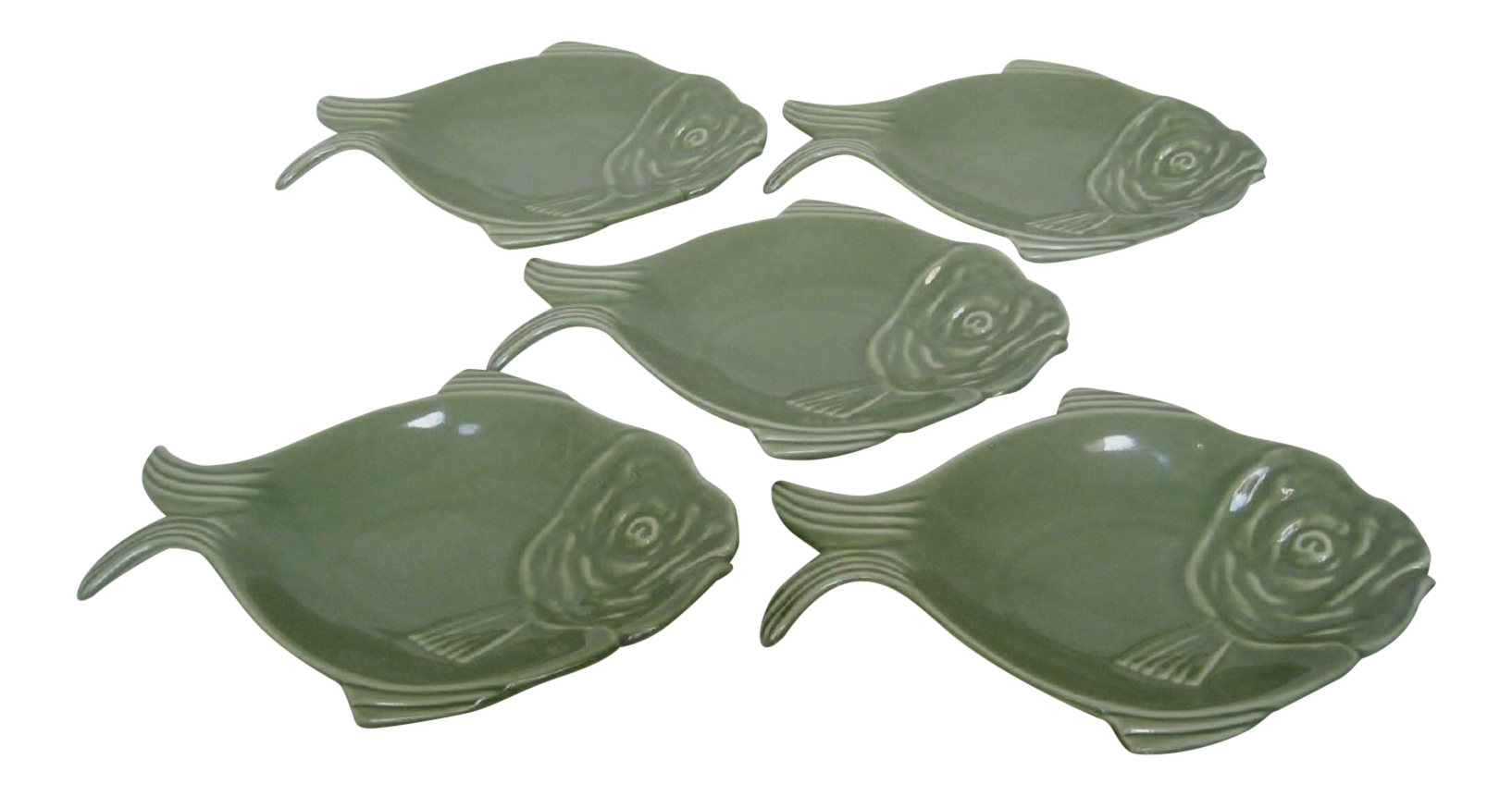 Vintage hall fish shaped plates set of 5 chairish for Fish shaped plates
