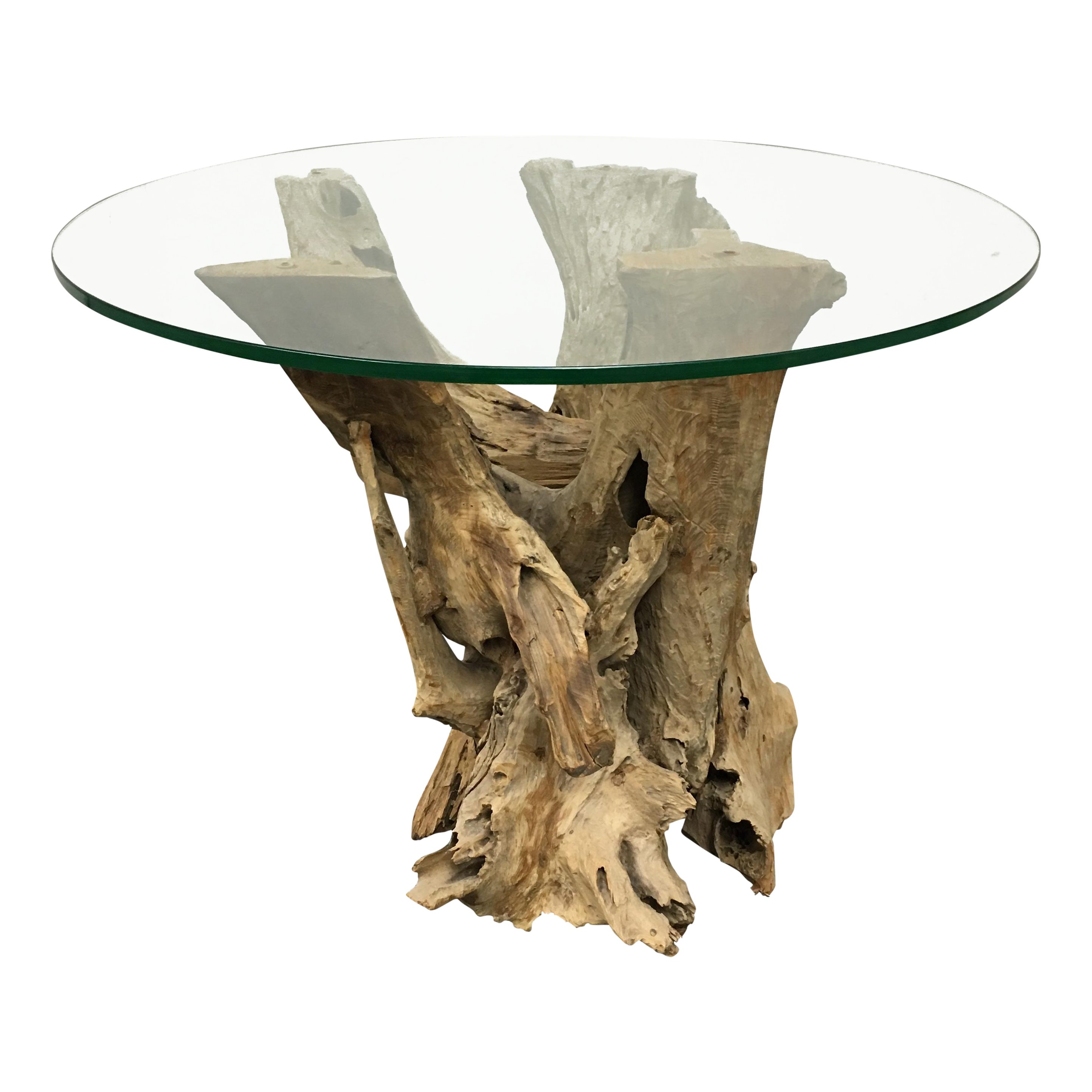 driftwood base side table with glass top chairish driftwood