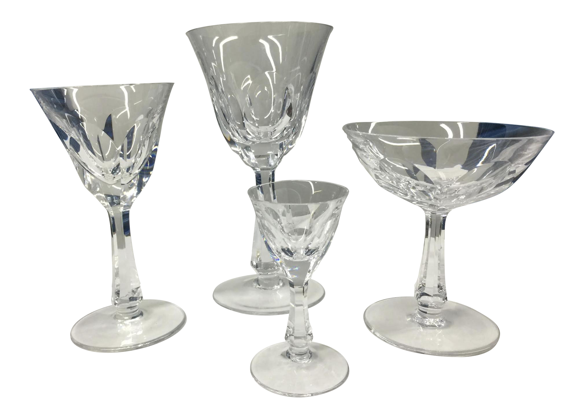 4 Types Of Crystal Stemware Glasses Set 48 Total Chairish