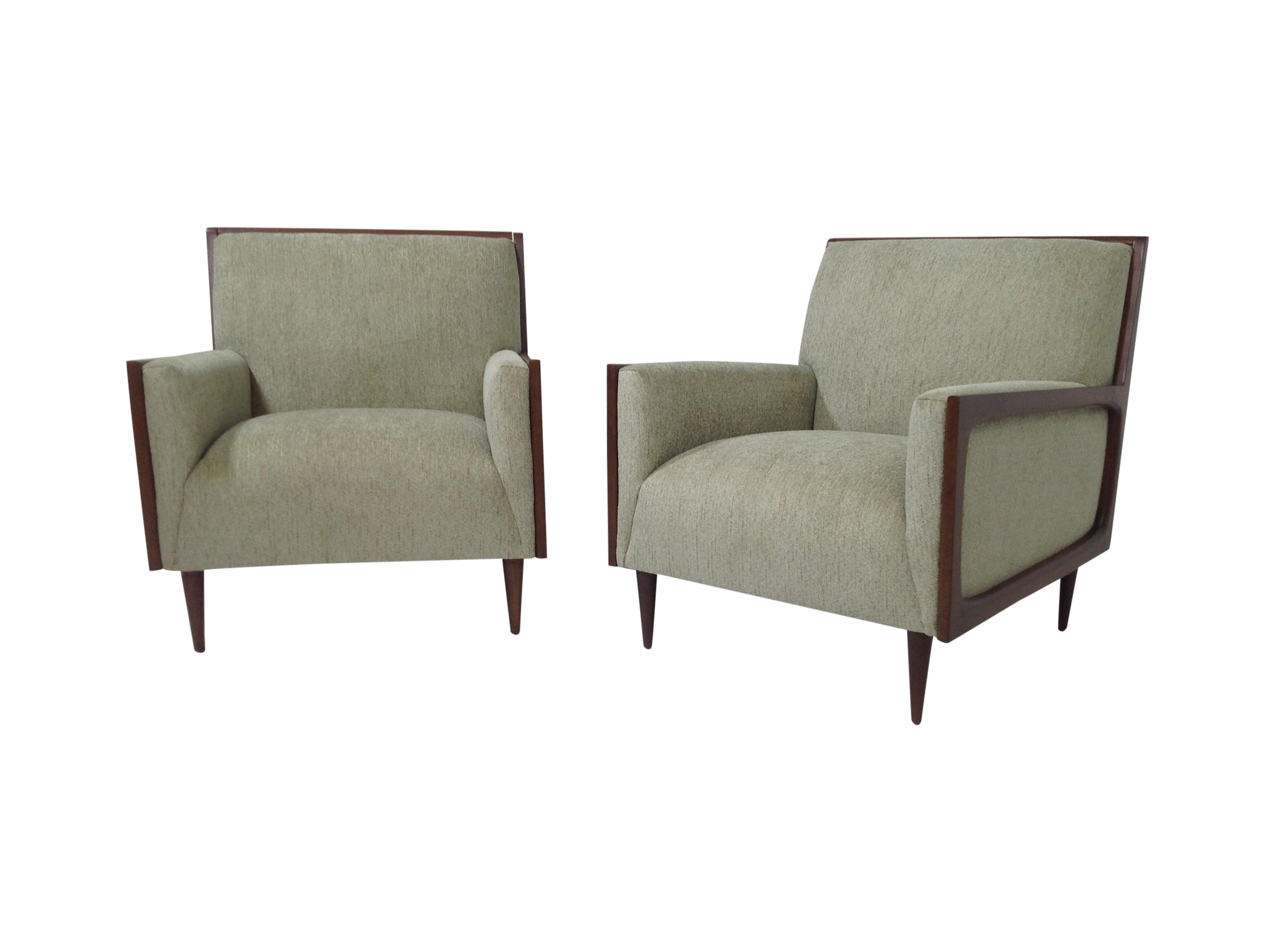 Outline Frame Mid Century Lounge Chairs Pair