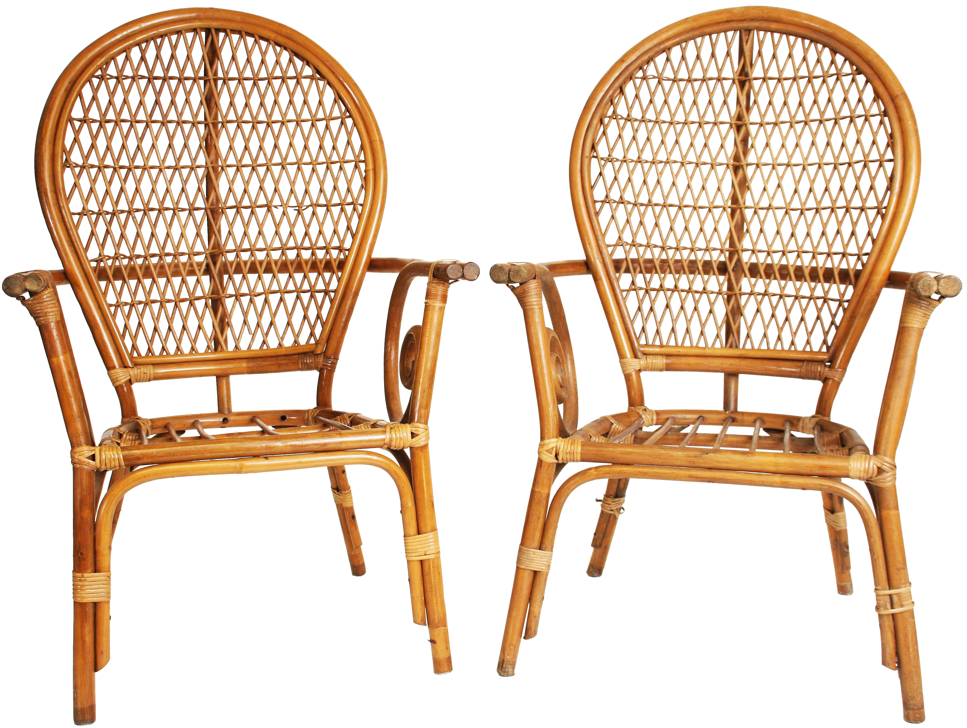 Vintage Bamboo Bentwood Chairs A Pair