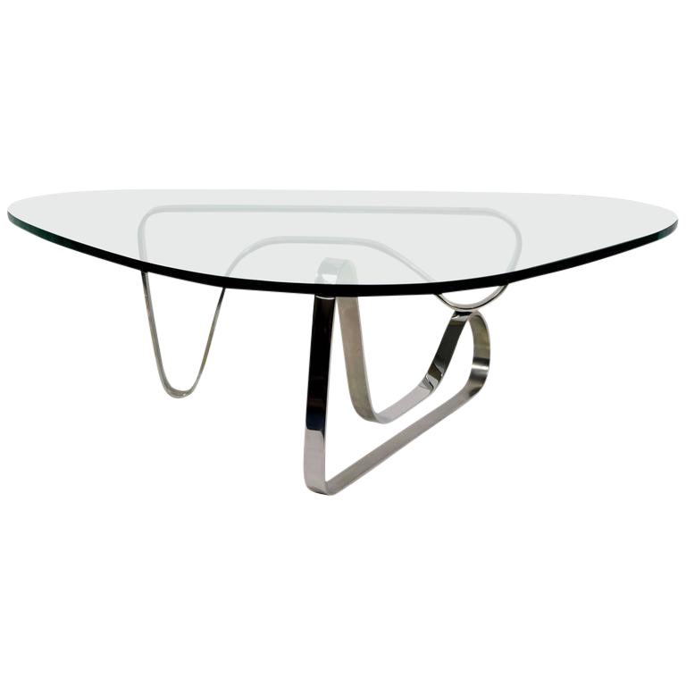 Image Of Noguchi Style Coffee Table With Stainless Steel Base