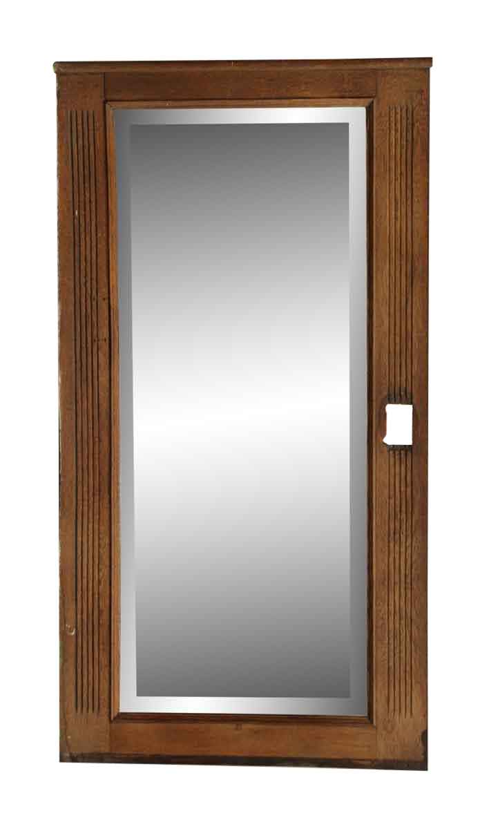 Long Vertical Wall Sconces : Long Vertical Oak Mirror With Cut for a Sconce Chairish