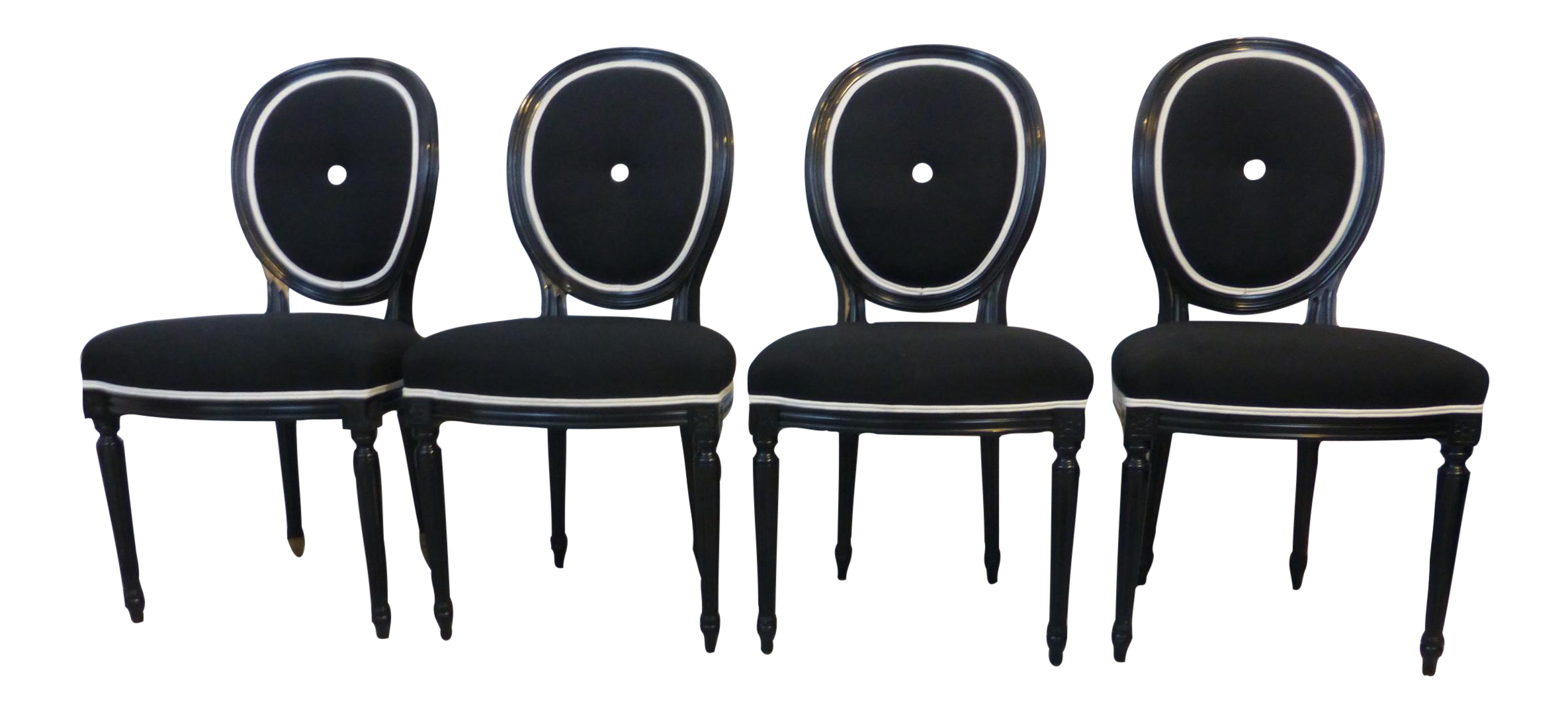 Hollywood Regency Glam Black & White Dining Chairs Set of 4