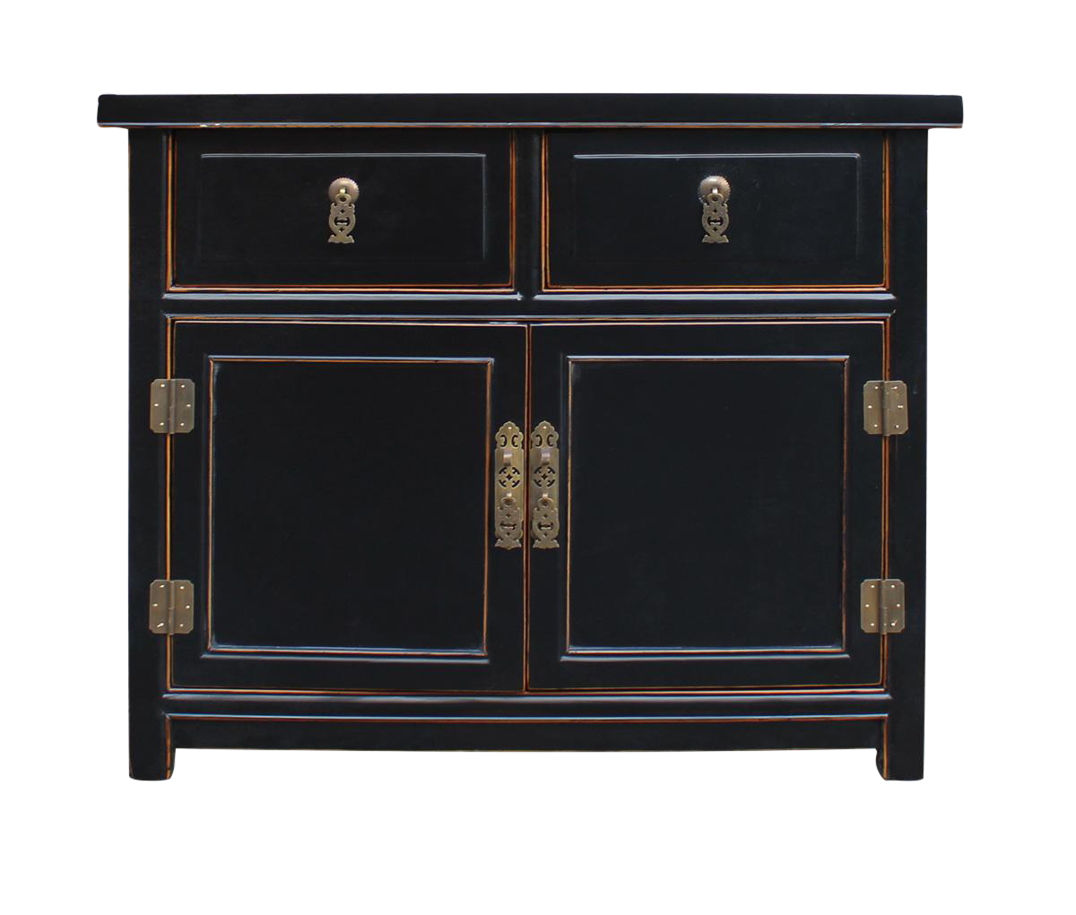 Oriental Chinese Black Lacquer Cabinet Chairish