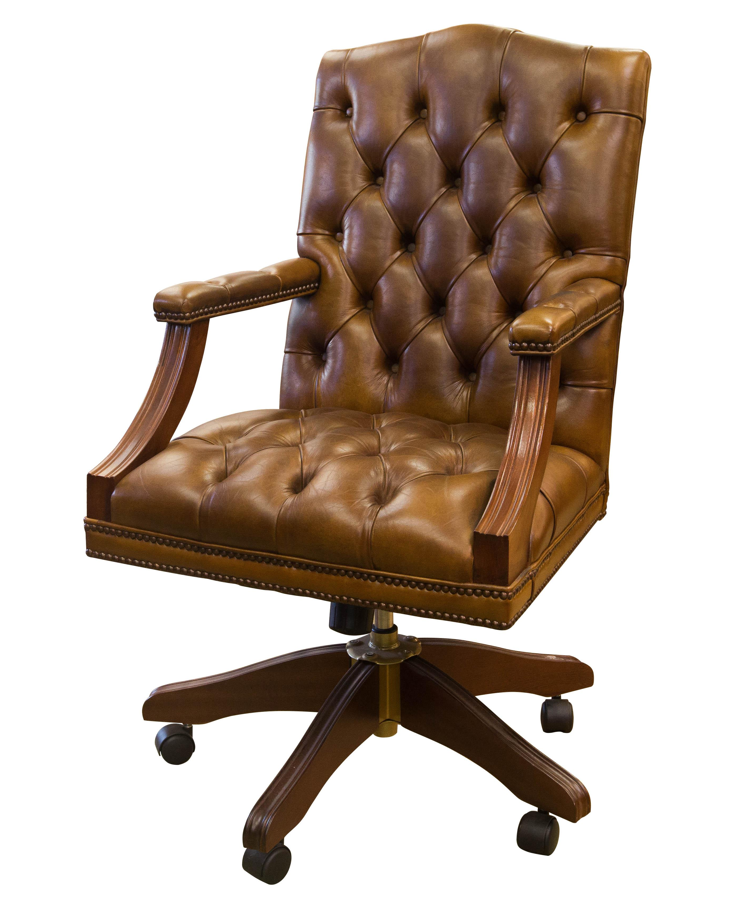English Gainsborough Brown Leather fice Chair