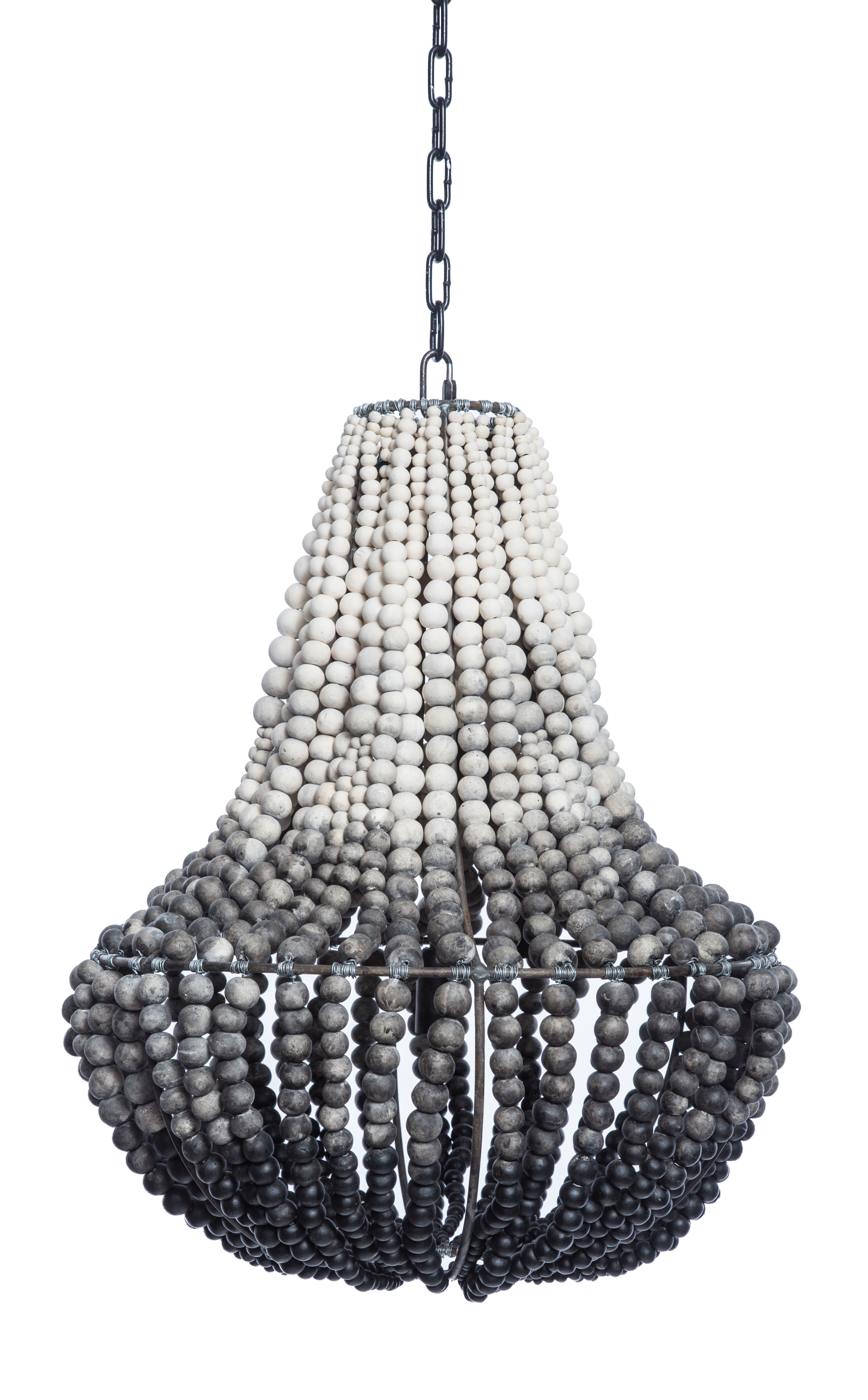 South African Ombre Grey Clay Beaded Chandelier (2 Available) | Chairish  sc 1 st  Chairish & South African Ombre Grey Clay Beaded Chandelier (2 Available ... azcodes.com