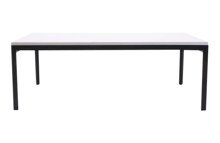 exquisite florence knoll coffee table, white laminate, black steel