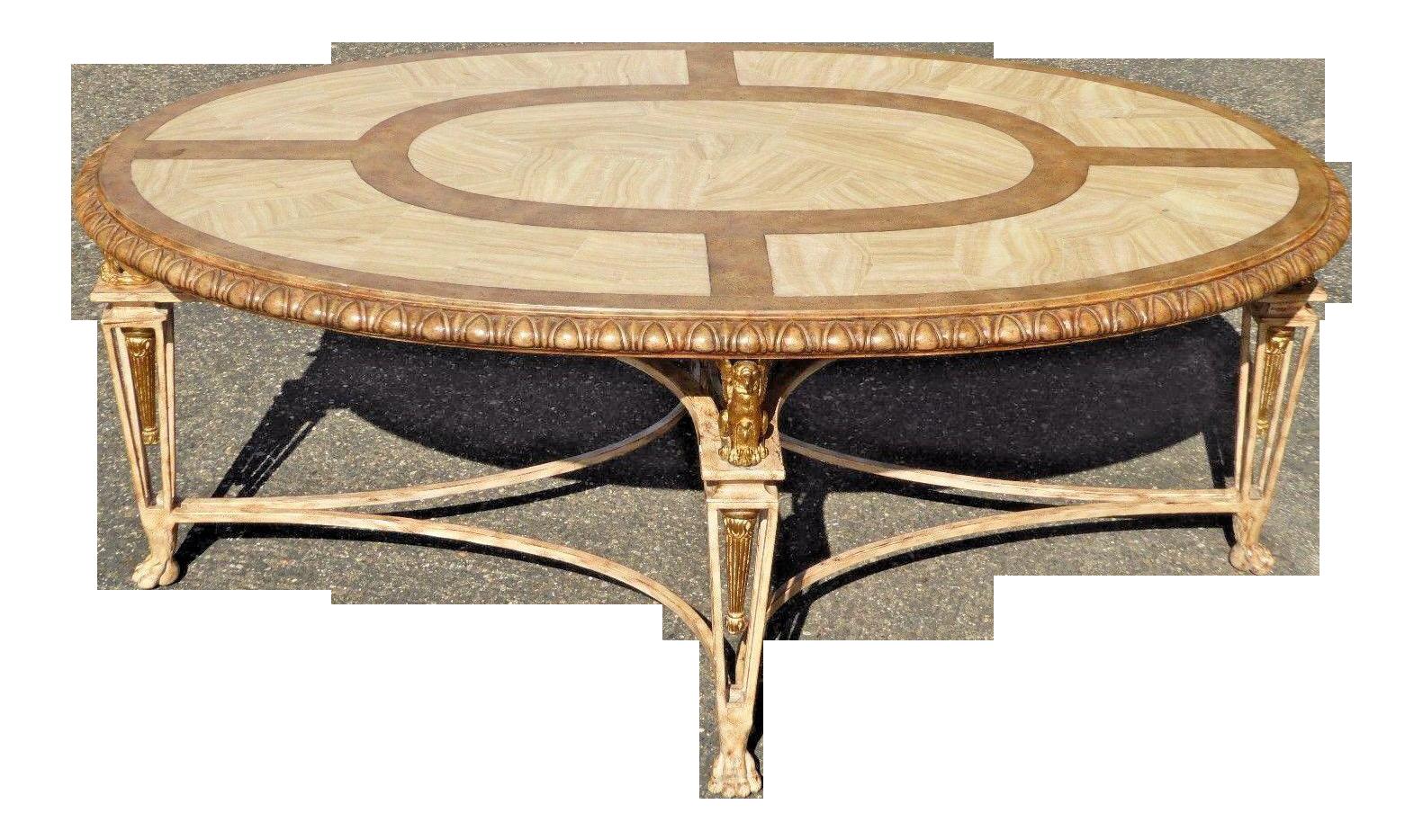 Image of Vintage La Barge Carved Wood & Gilt Griffin Oval Coffee Table - Vintage La Barge Carved Wood & Gilt Griffin Oval Coffee Table