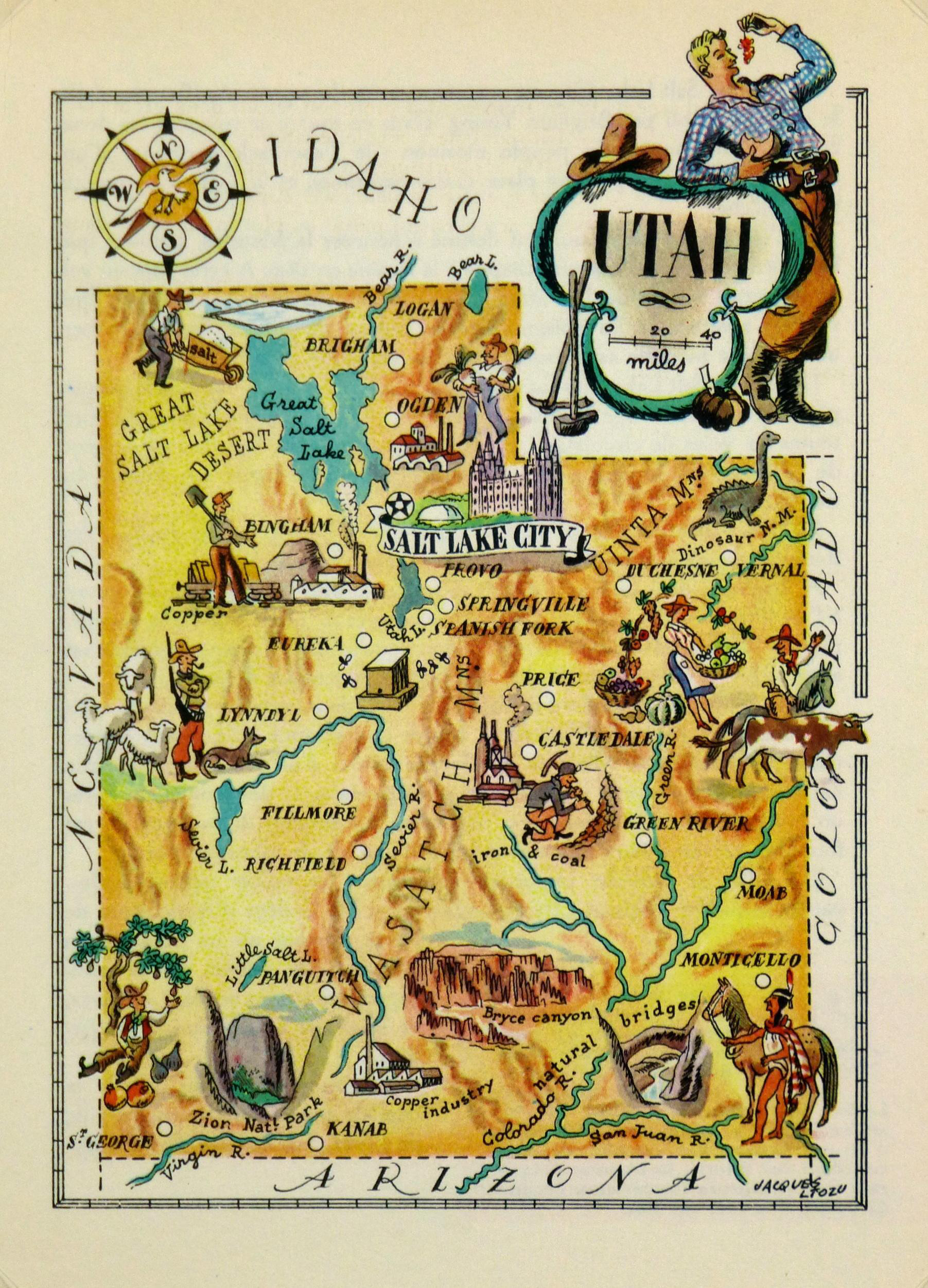 Vintage Utah Pictorial Map 1946 Chairish