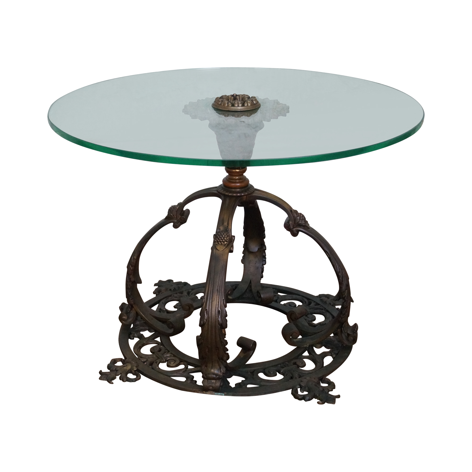 Bronze Pedestal Base Round Glass Top Coffee Table