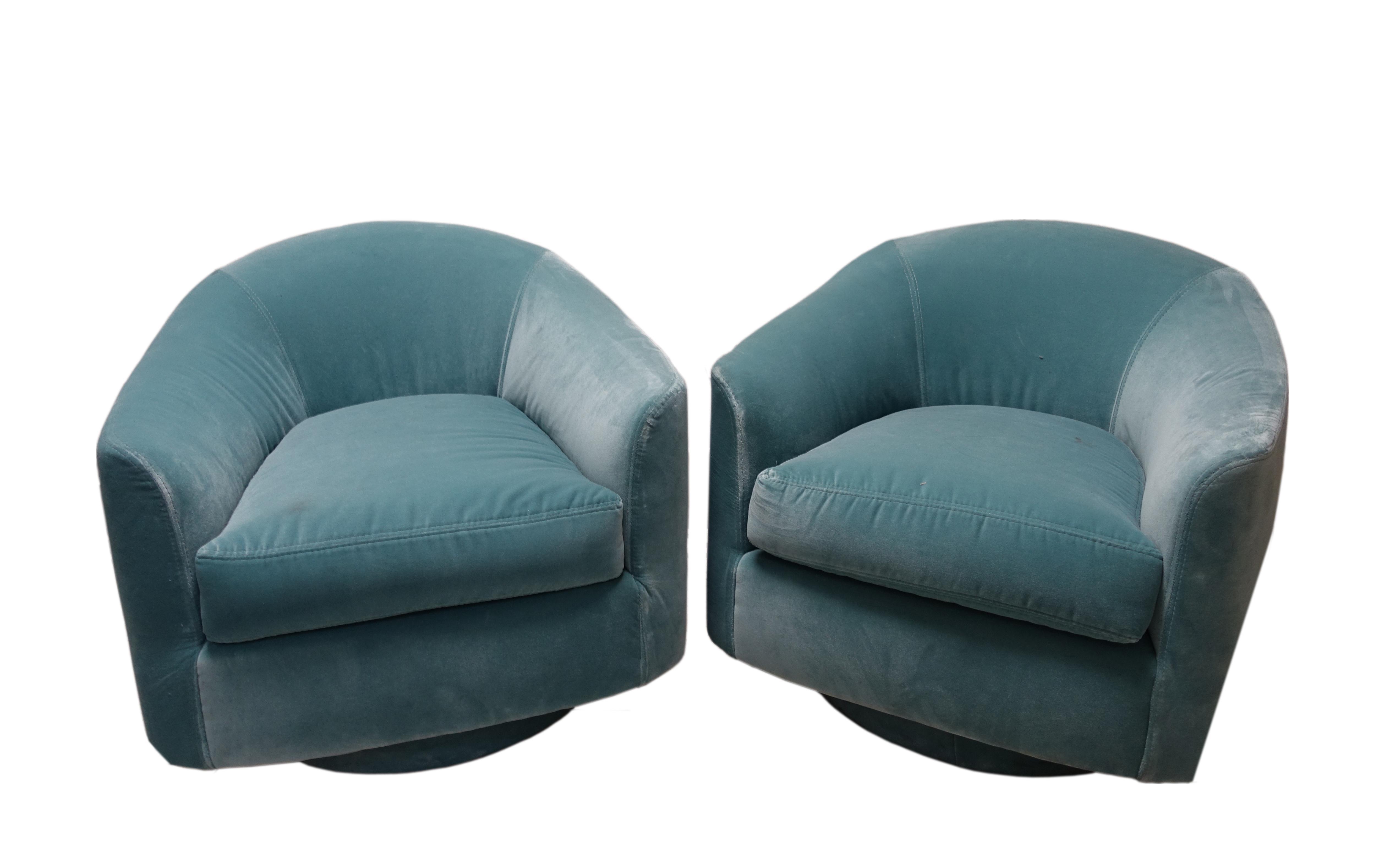 Mid Century Modern Blue Barrel Swivel Chairs a Pair Chairish