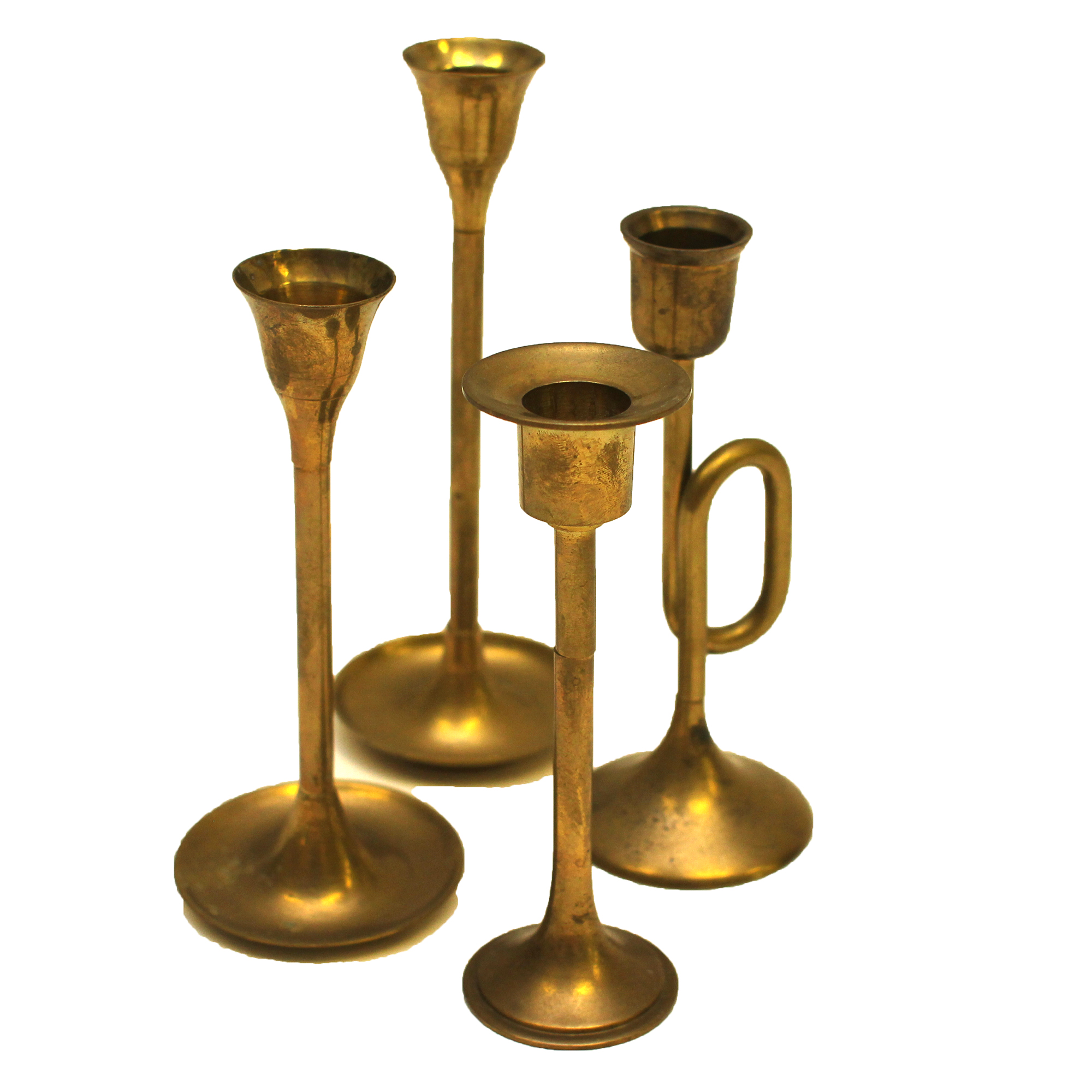 Vintage Brass Candle Holders - Set of 4 | Chairish