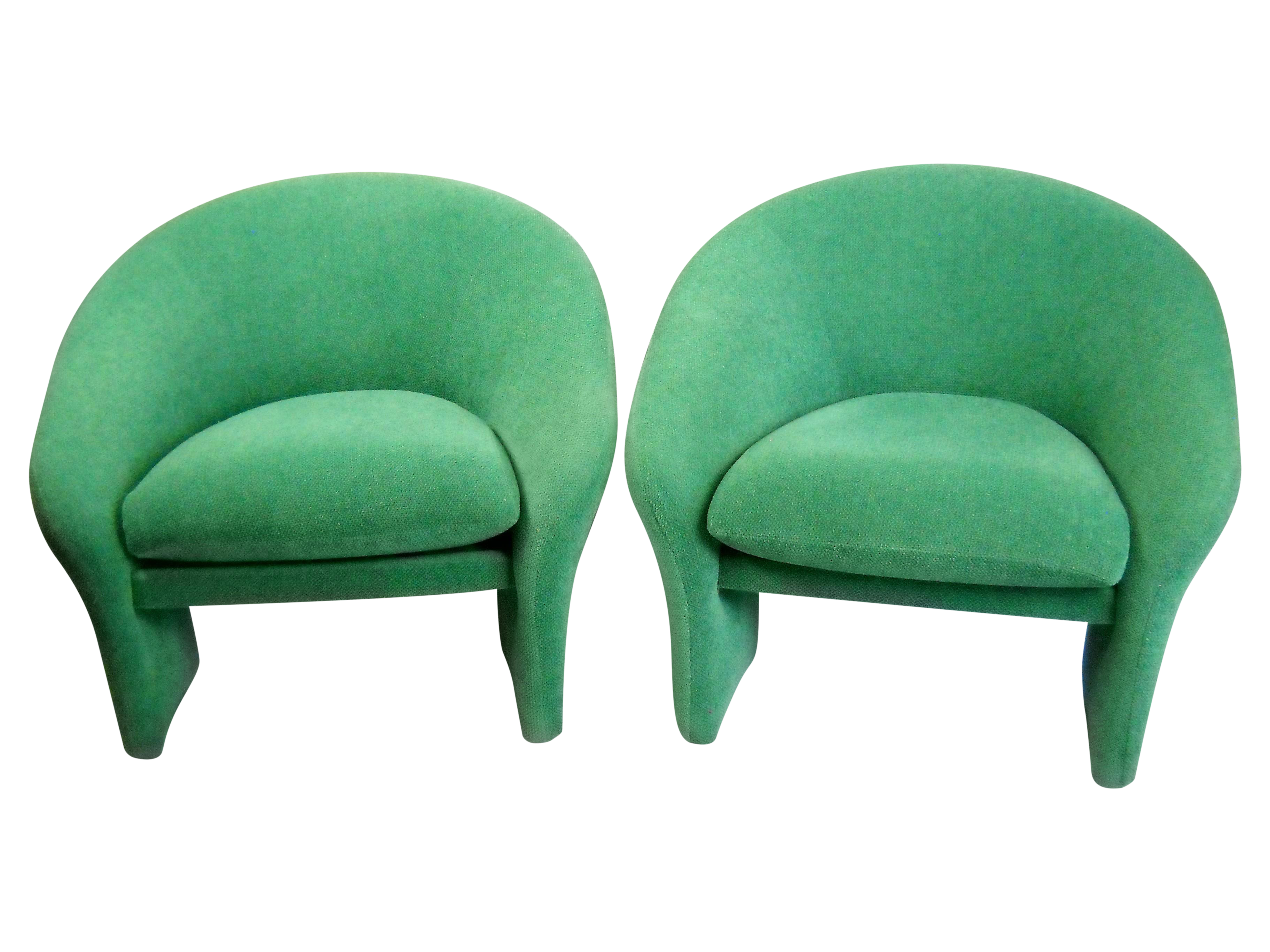 Vintage 1970s Green Barrel Back Chairs A Pair Chairish