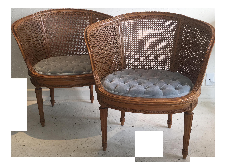Louis XVI Style Cane Barrel Chairs A Pair
