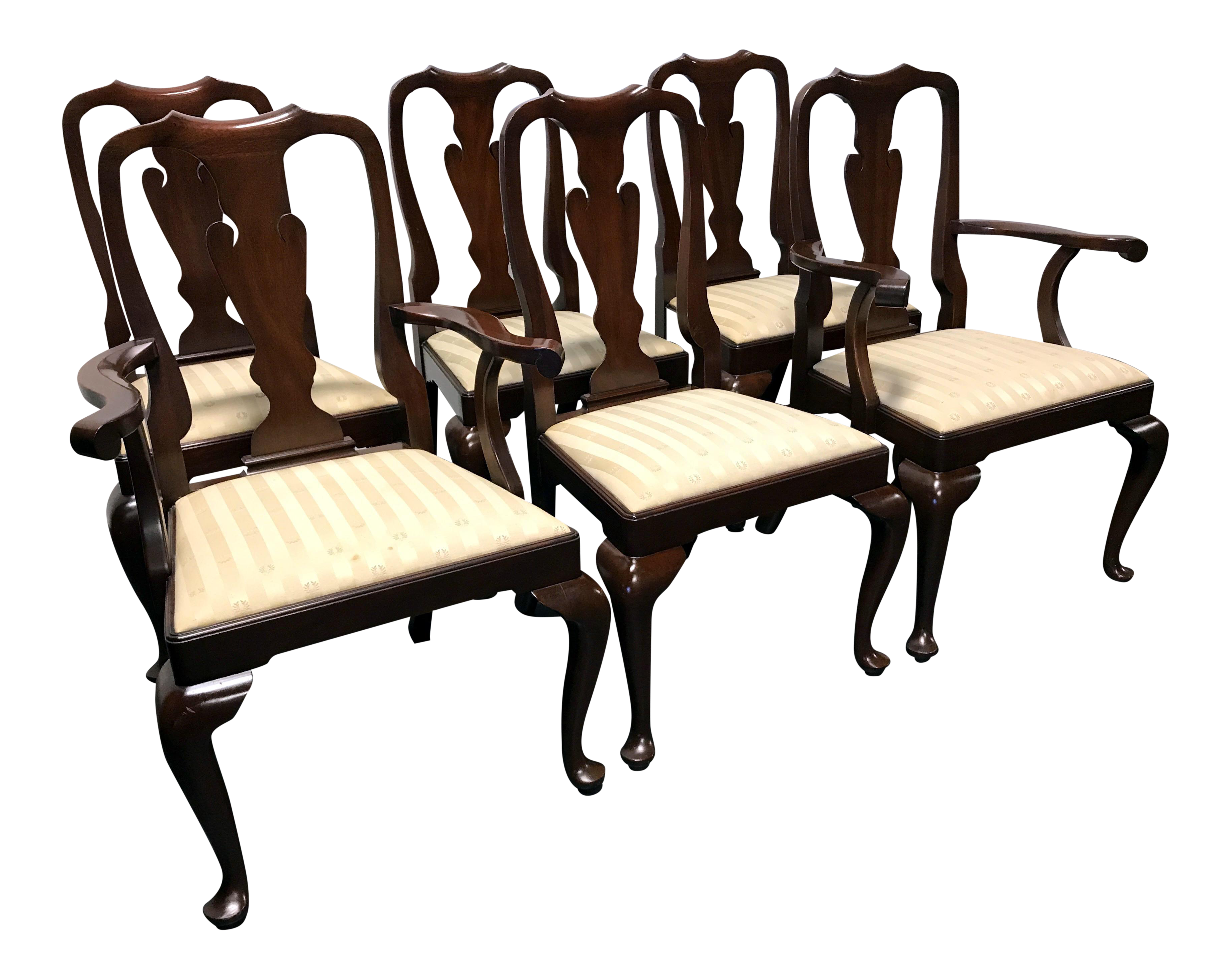 Henkel Harris Mahogany Queen Anne Dining Chairs Set of 6