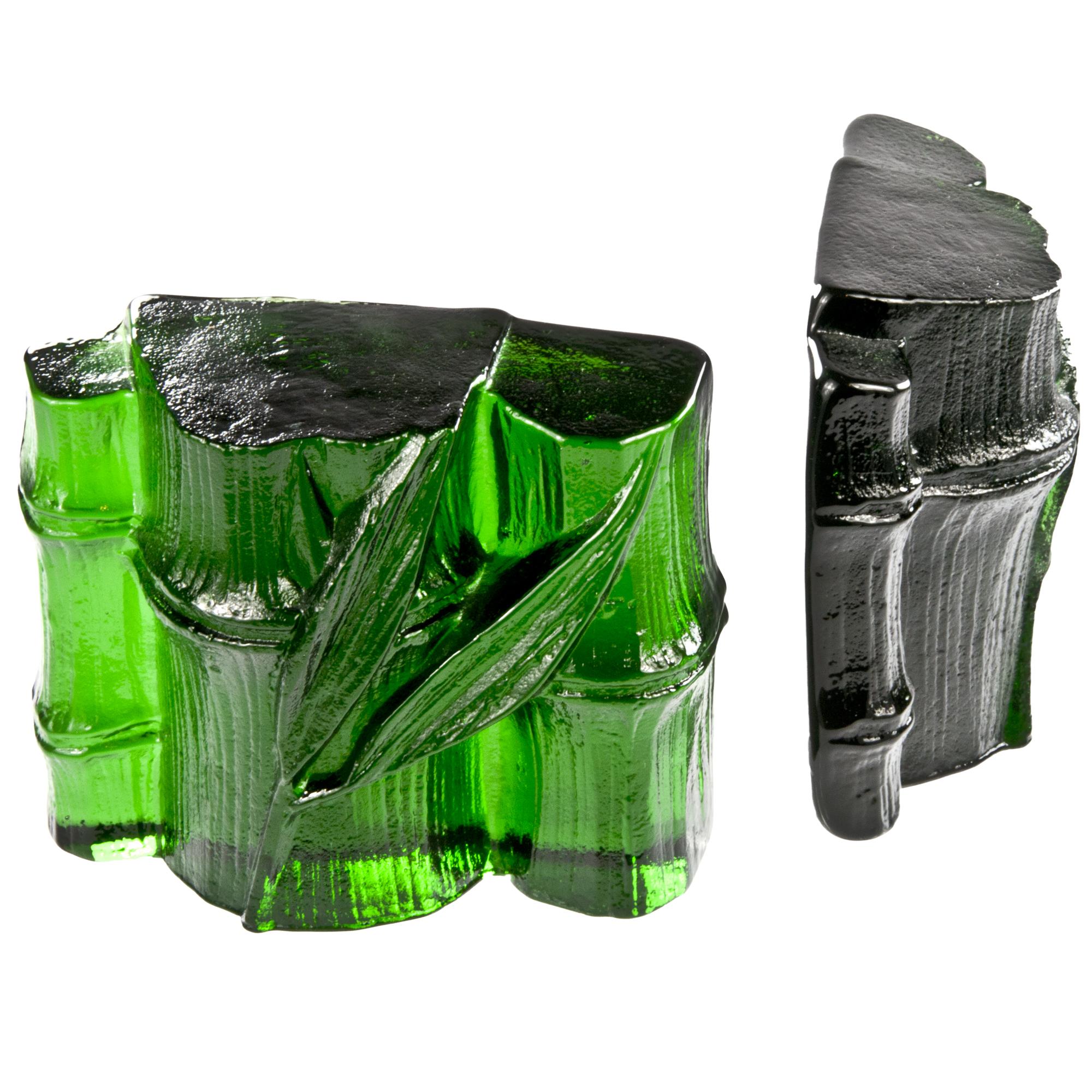 Blenko Green Glass Bamboo Bookends | Chairish