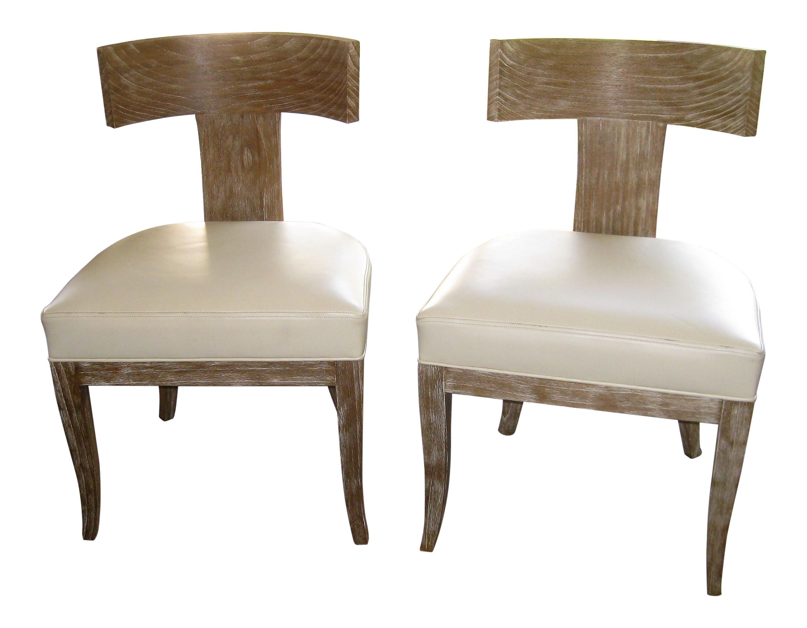 Ironies Pickled Oak Chairs A Pair