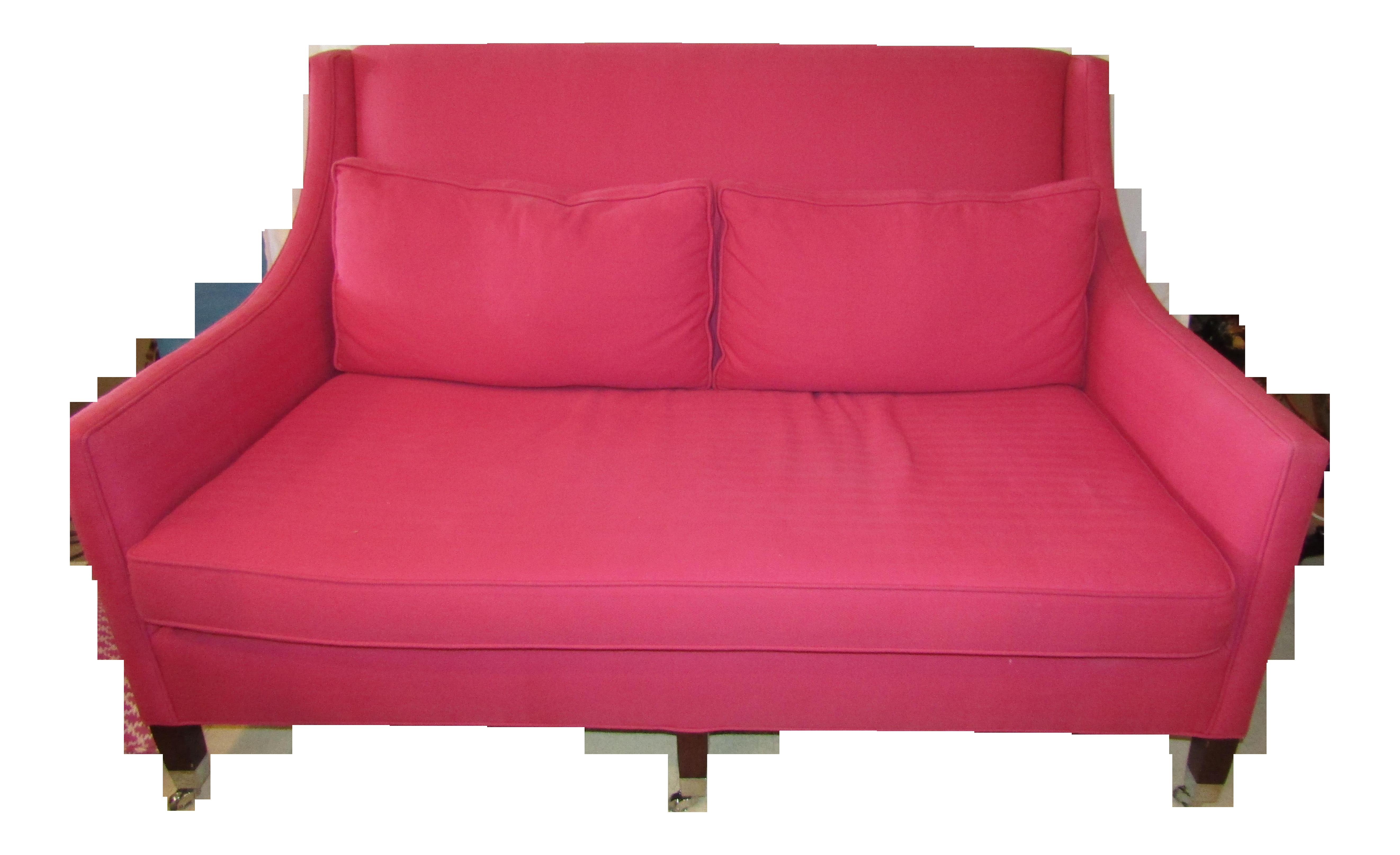 Contemporary Duralee Hot Pink Sofa Chairish
