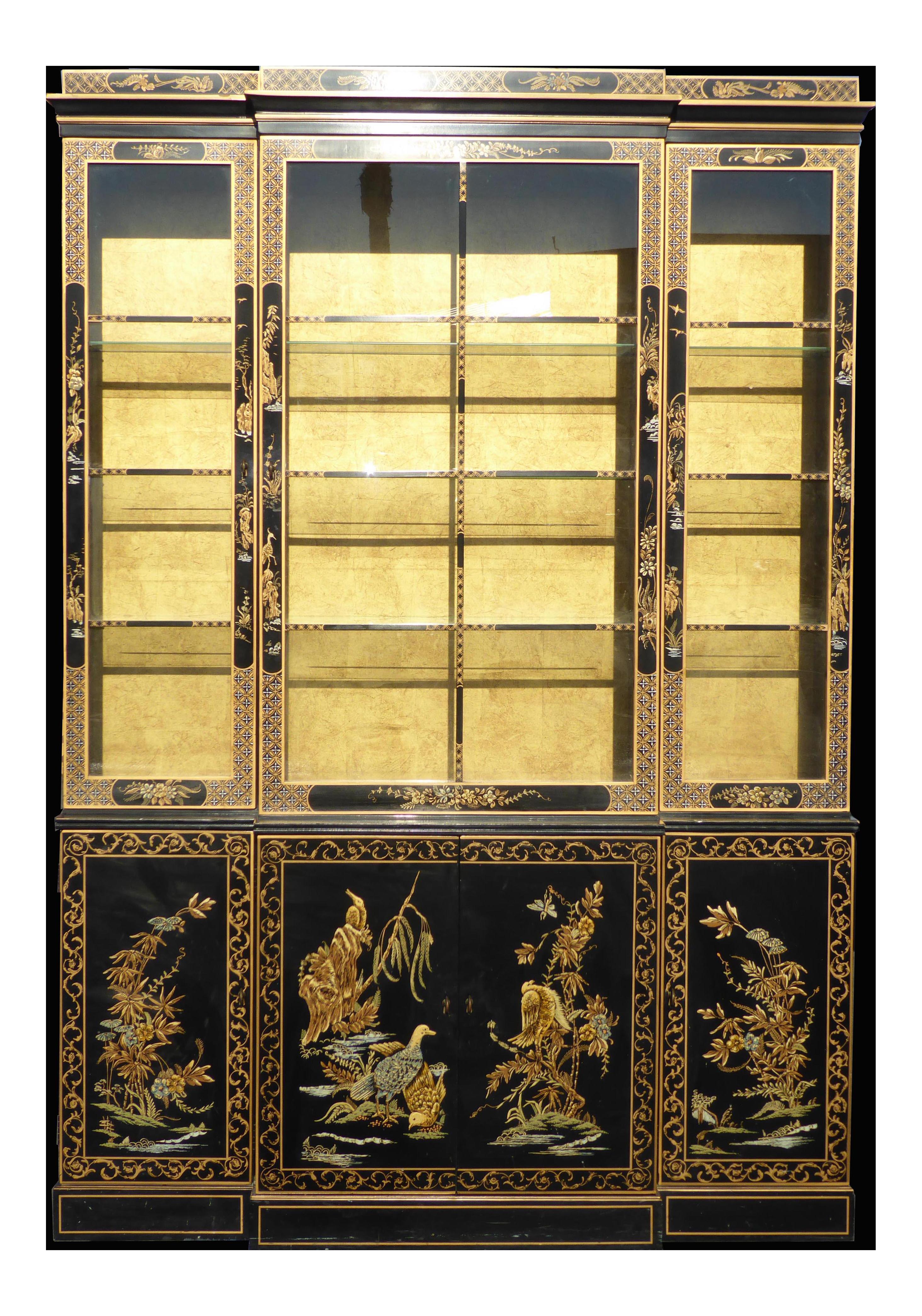 Drexel Heritage Vintage Asian Chinoiserie Black & Gold Gilt Hutch