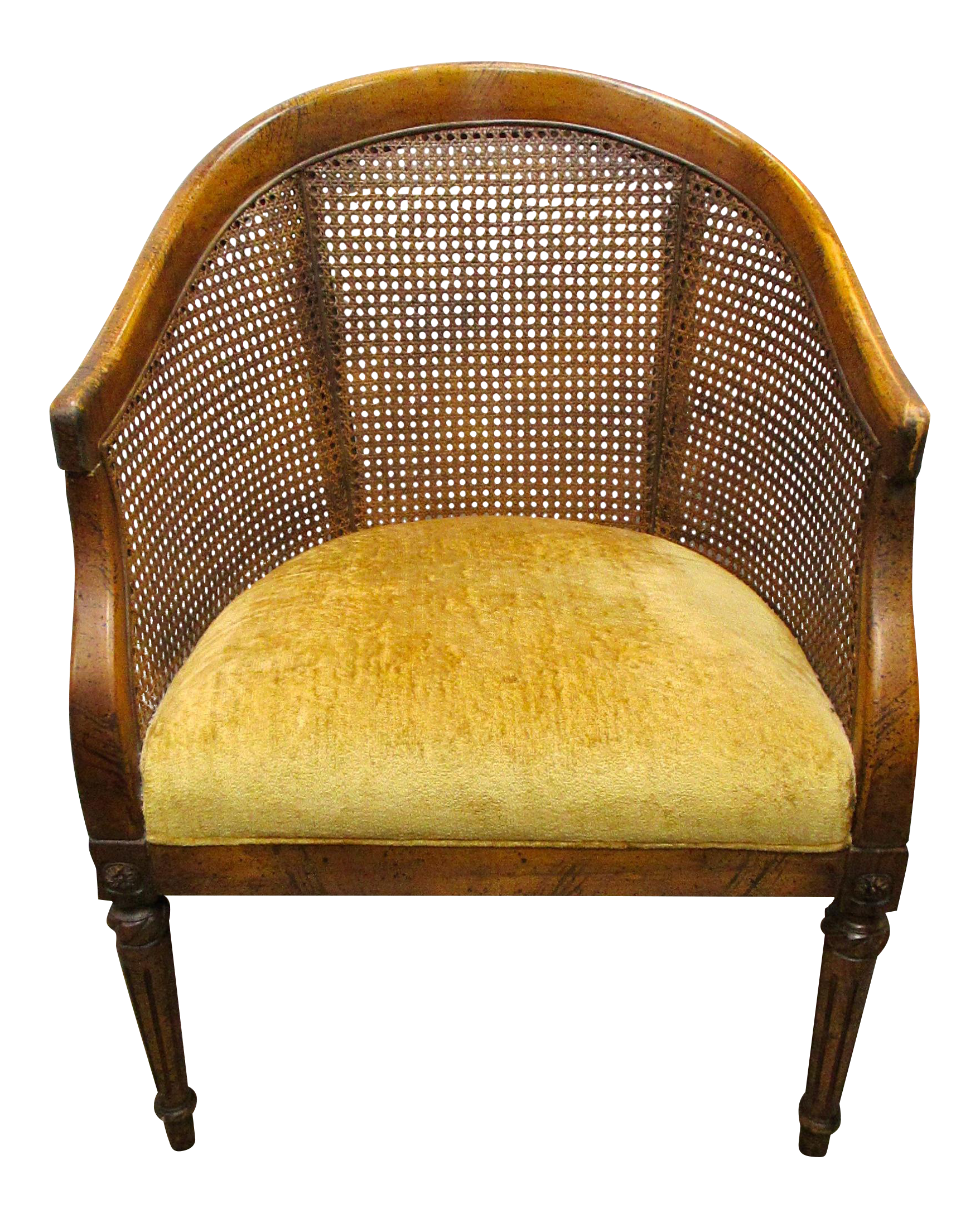 Vintage Cane Back Barrel Chair | Chairish