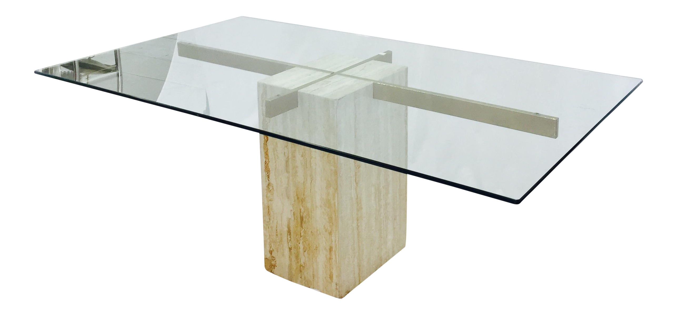 Ello Italian Travertine Marble & Brass Glass Top Pedestal Table