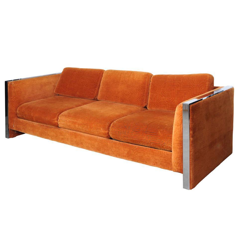 MidCentury Modern Orange Velvet Milo Baughman Sofa Chairish