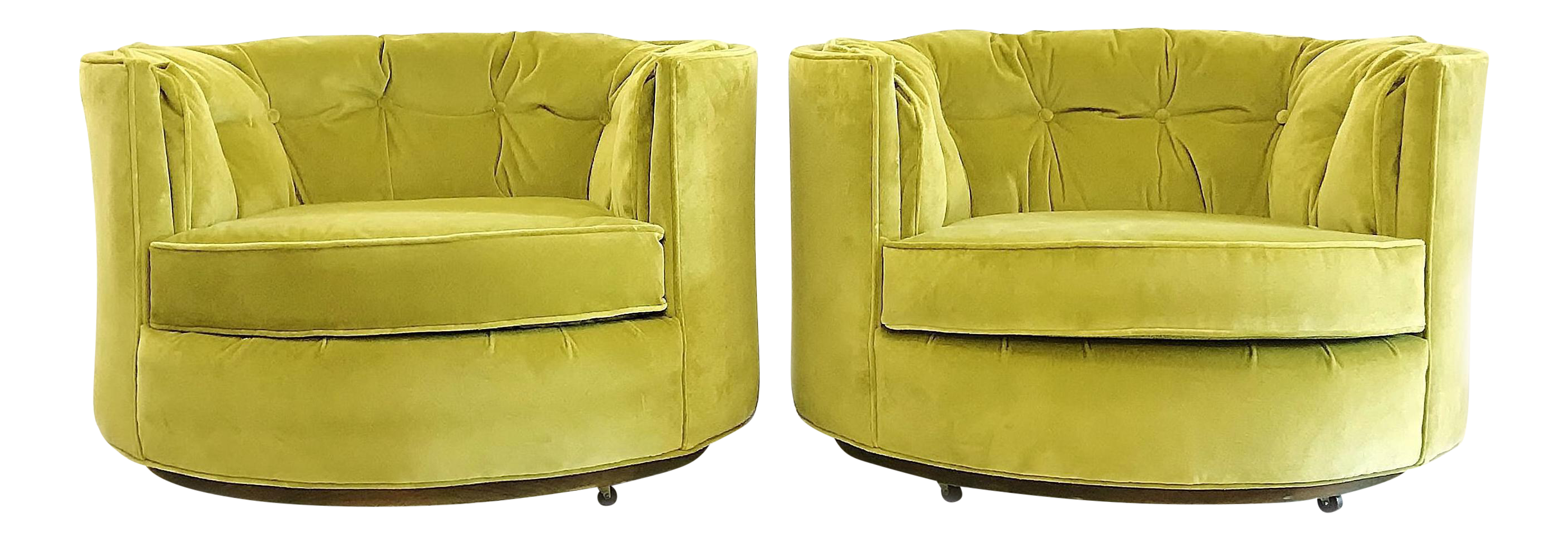 Vintage Chartreuse Velvet Club Chairs a Pair