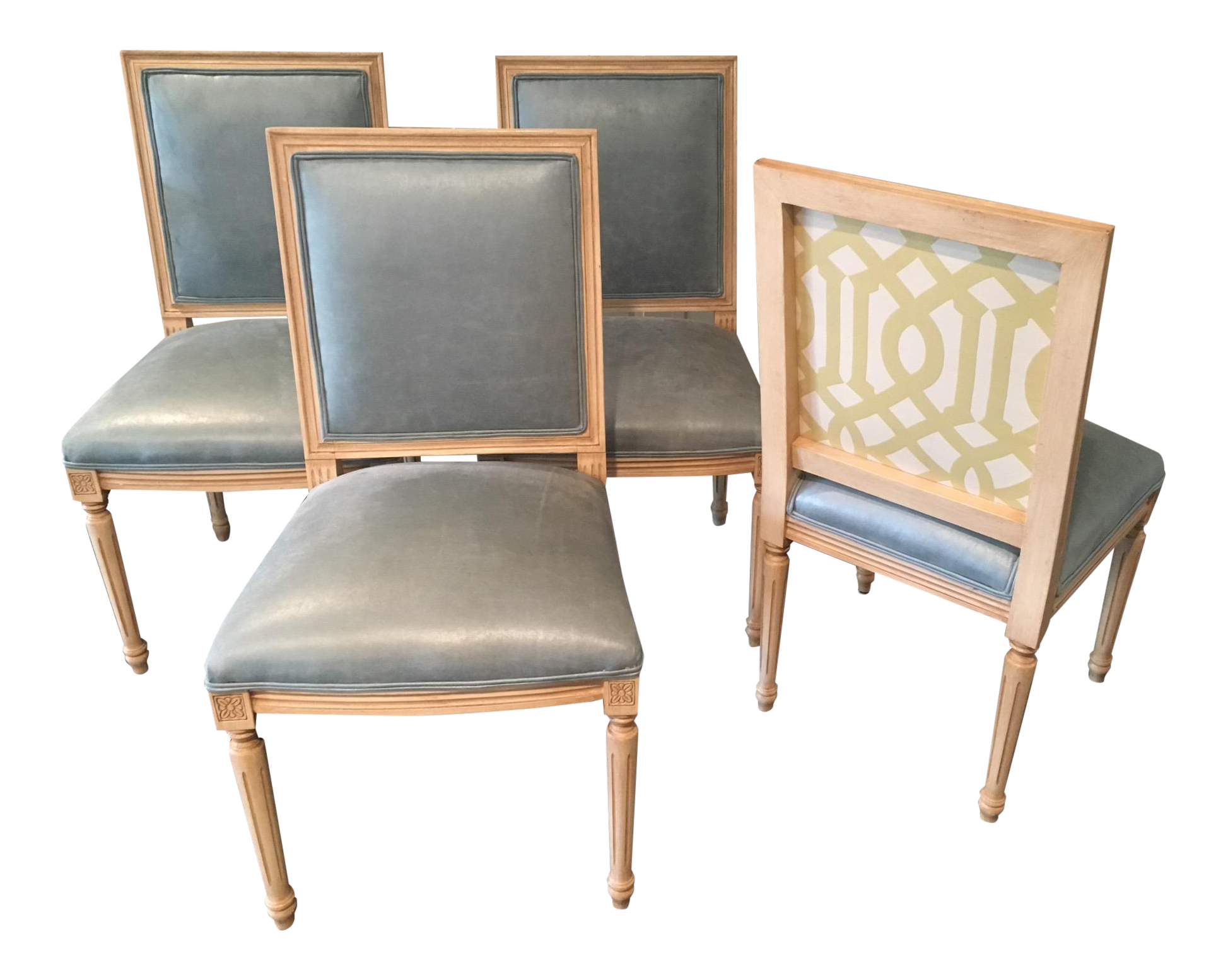 Louis Style Square Back Dining Chairs Set of 4