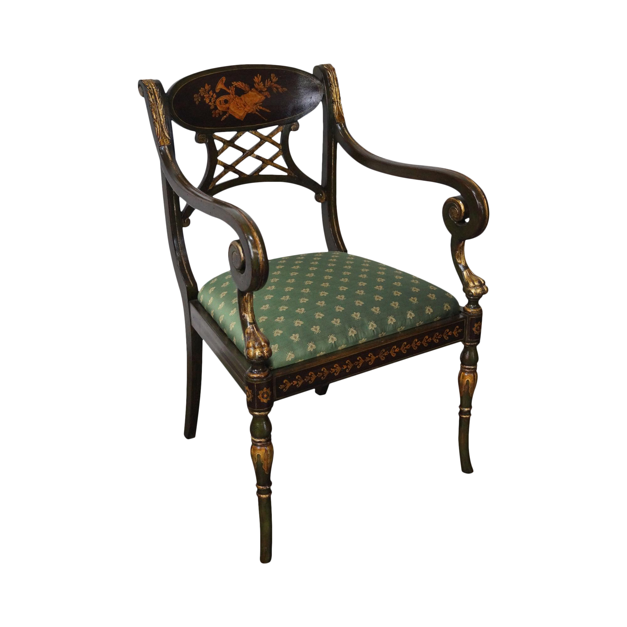 Decorative Arm Chairs ~ Hand painted regency style gilt accent arm chair by