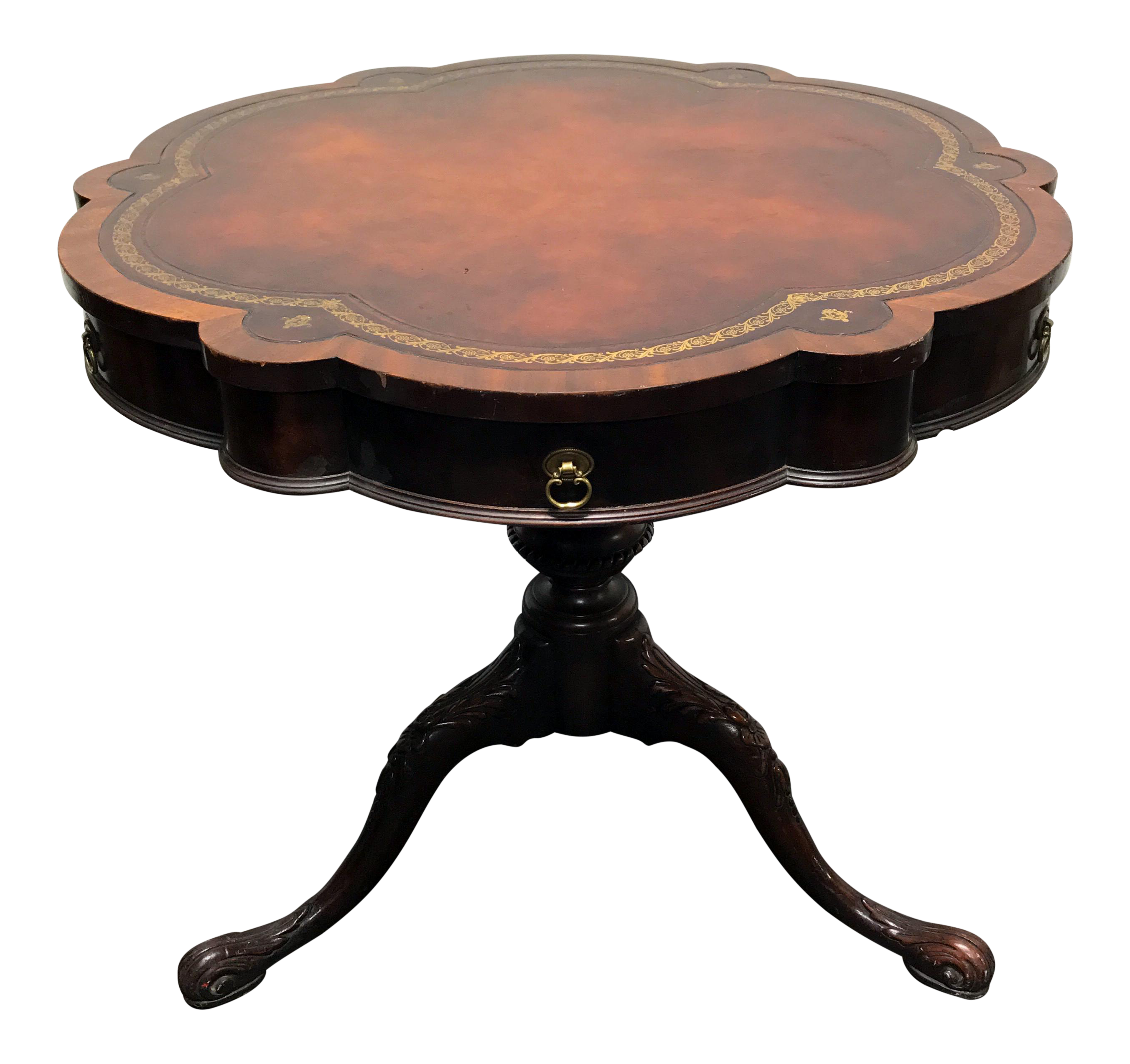 Vintage Weiman Scalloped Pedestal Leather Top Drum Table