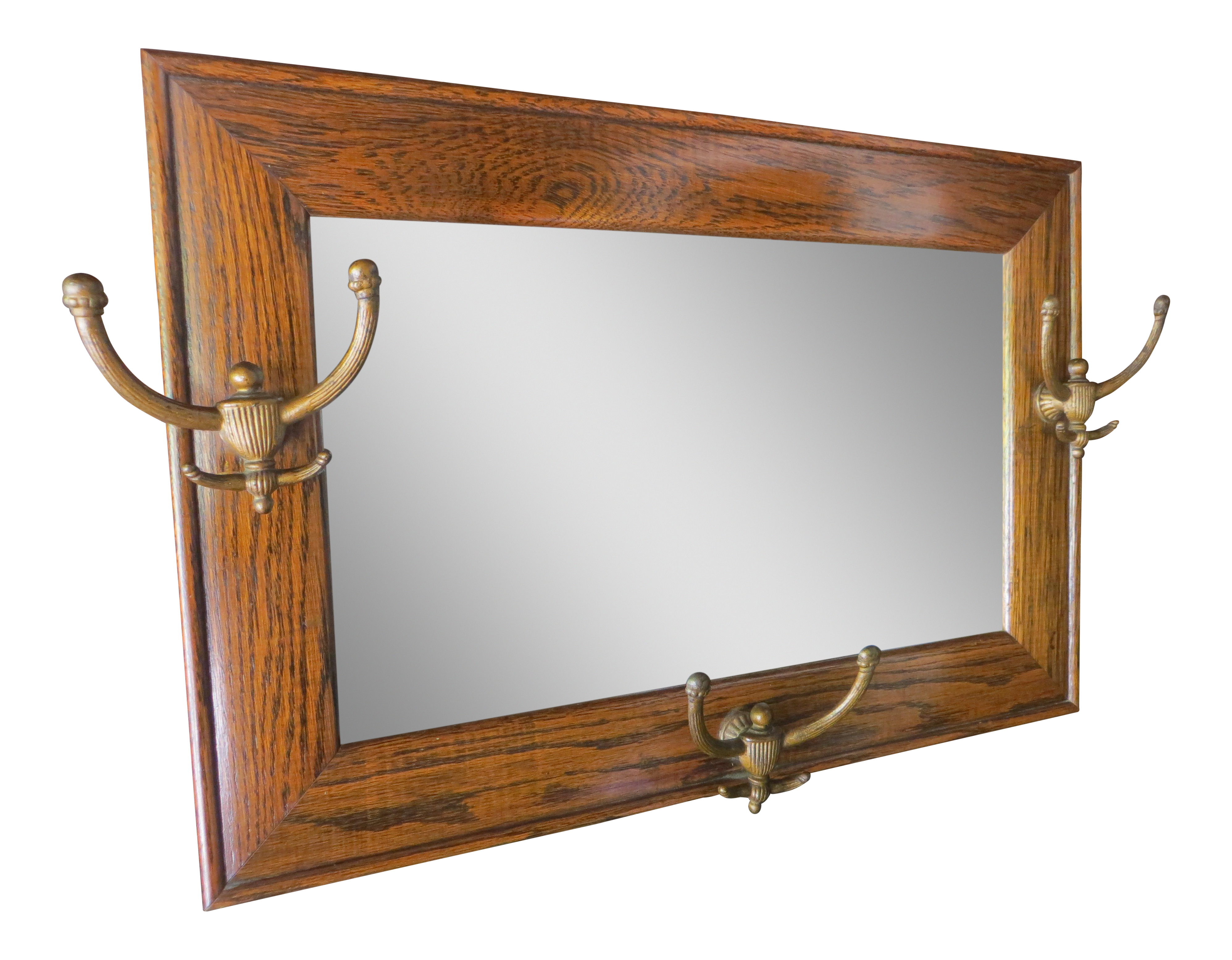 Antique hanging wall mirror tiger oak with hooks chairish amipublicfo Images