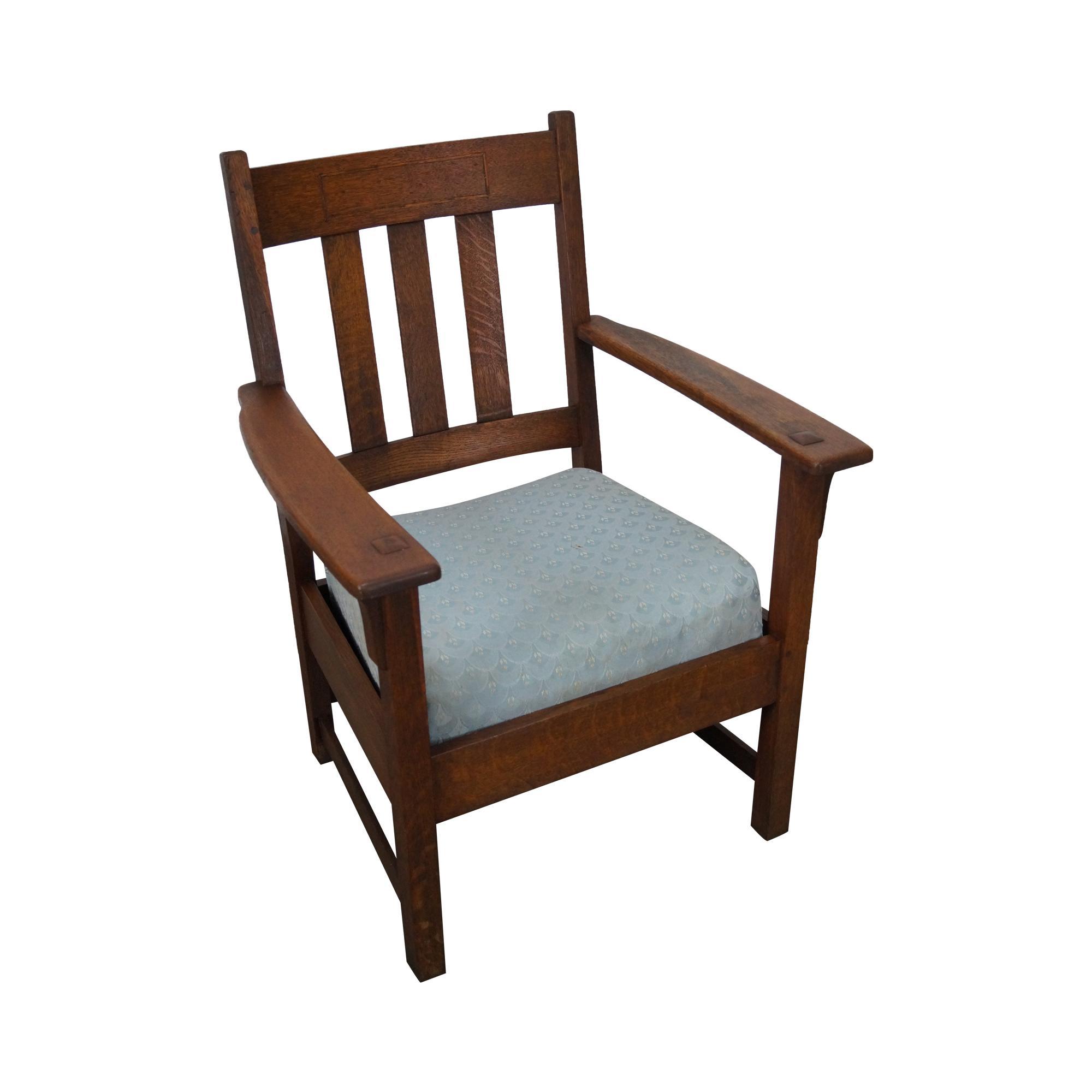 Limbert Antique Mission Oak Arm Chair  Chairish