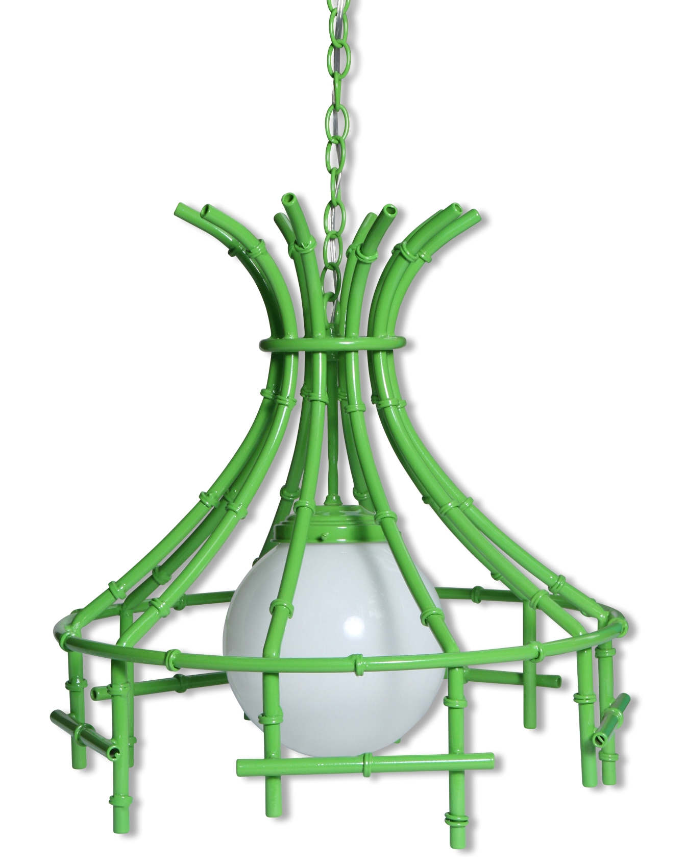 faux bamboo lime metal chandelier chairish. Black Bedroom Furniture Sets. Home Design Ideas