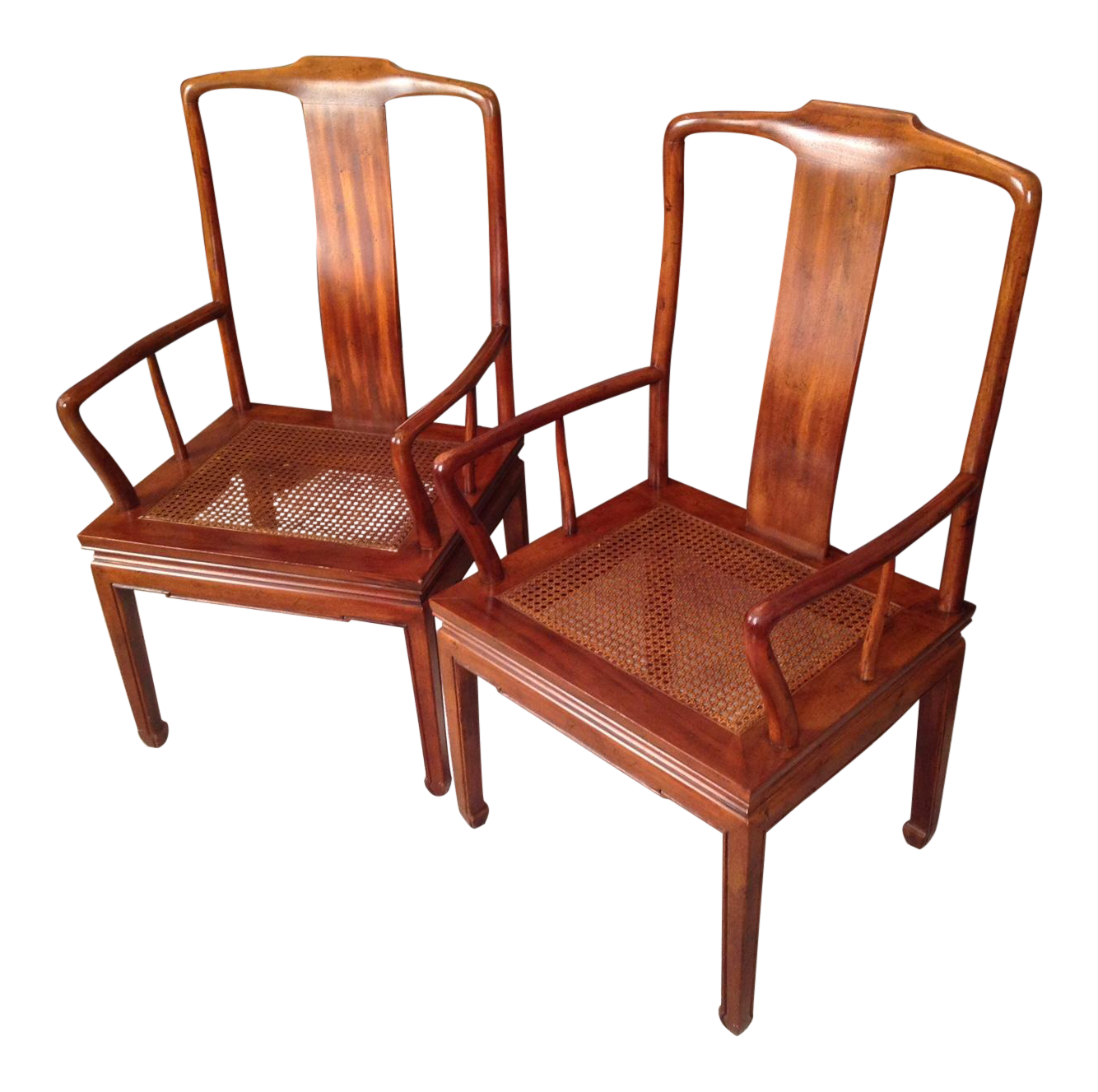 Henredon Asian Cane Dining Arm Chairs Pair Chairish