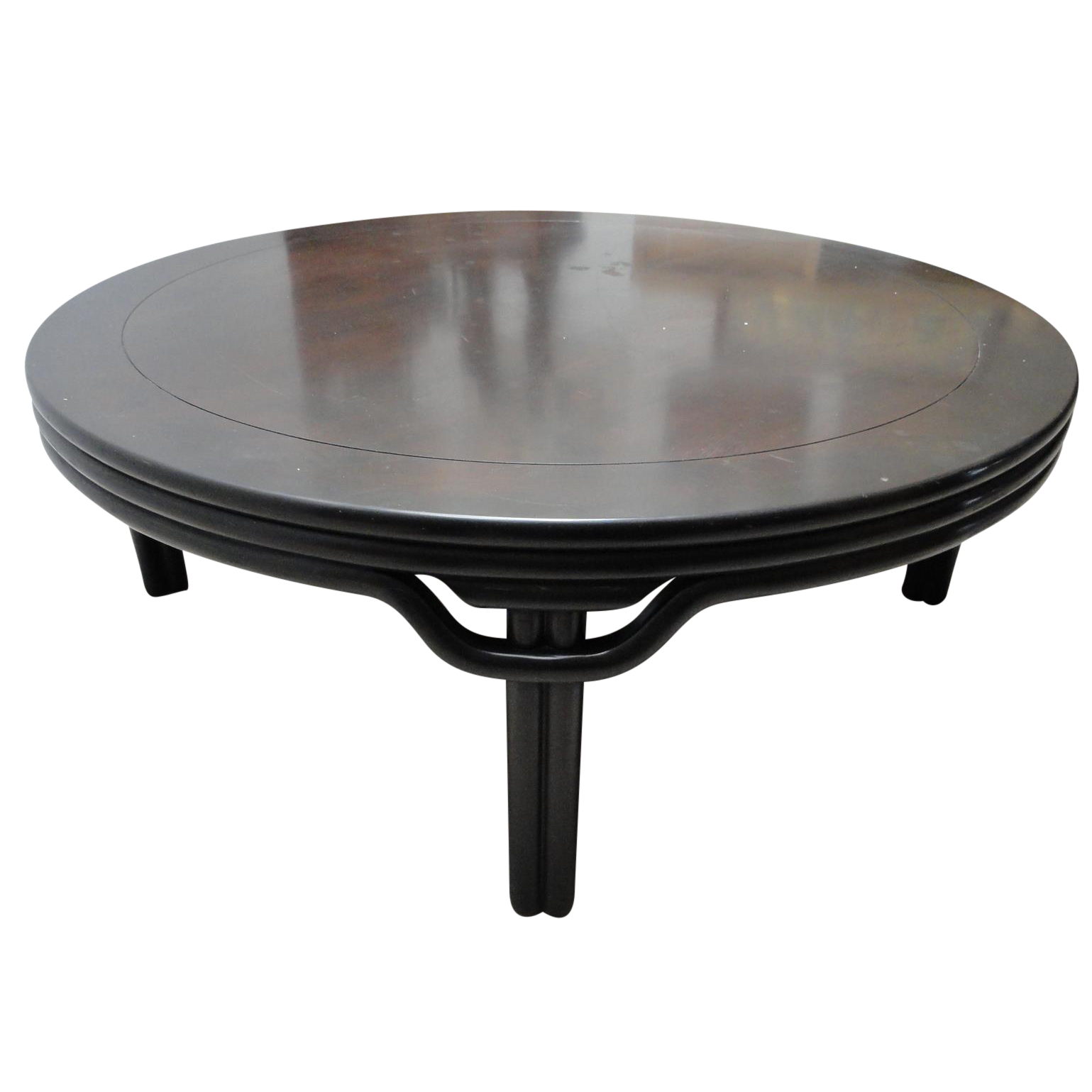 Ebonized round cocktail table chairish Round cocktail table