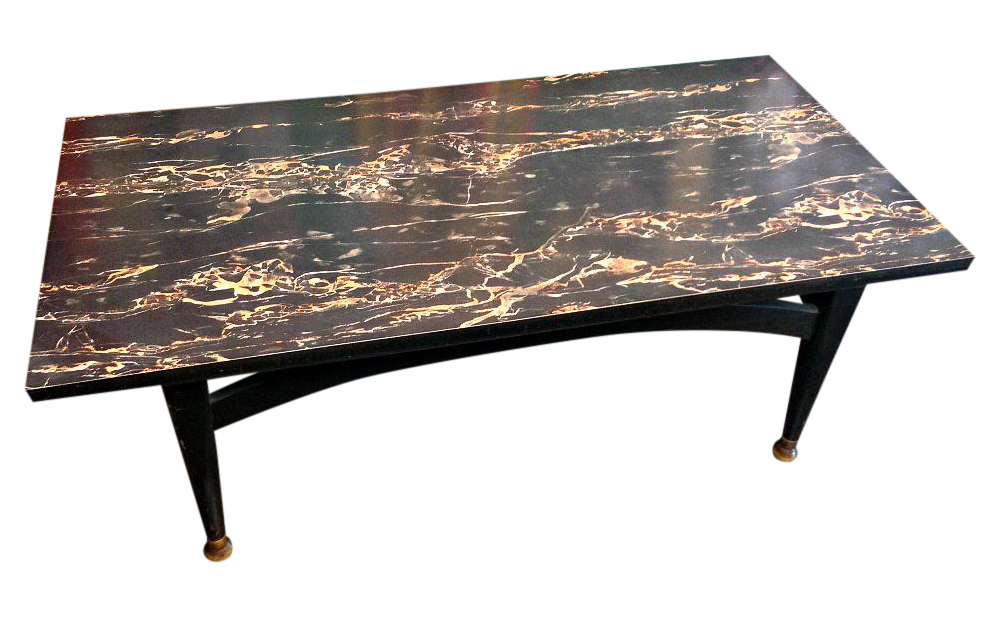 mcm black marble formica coffee table | chairish