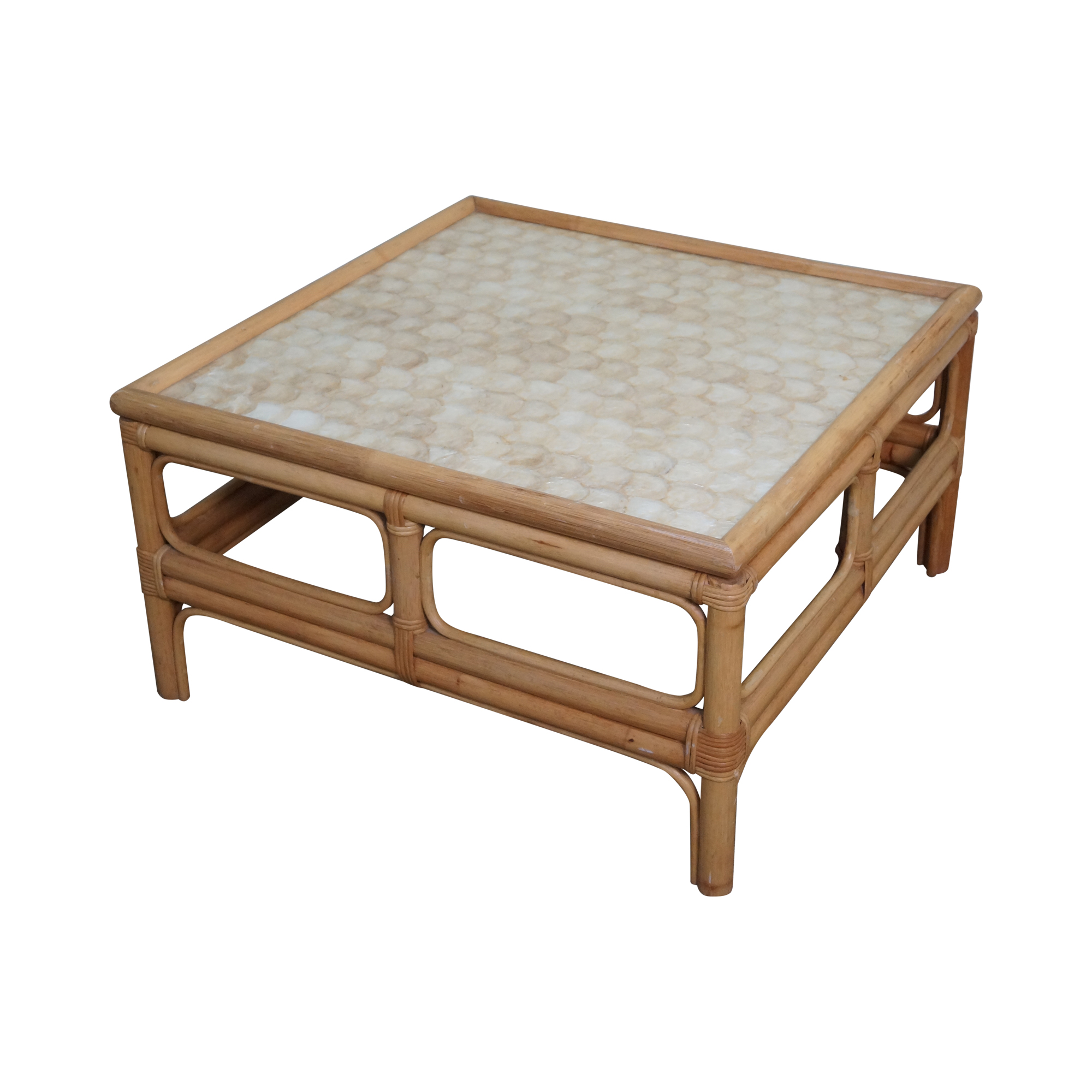 Long Bamboo Coffee Table: Vintage Rattan Bamboo Capiz Shell Top Coffee Table
