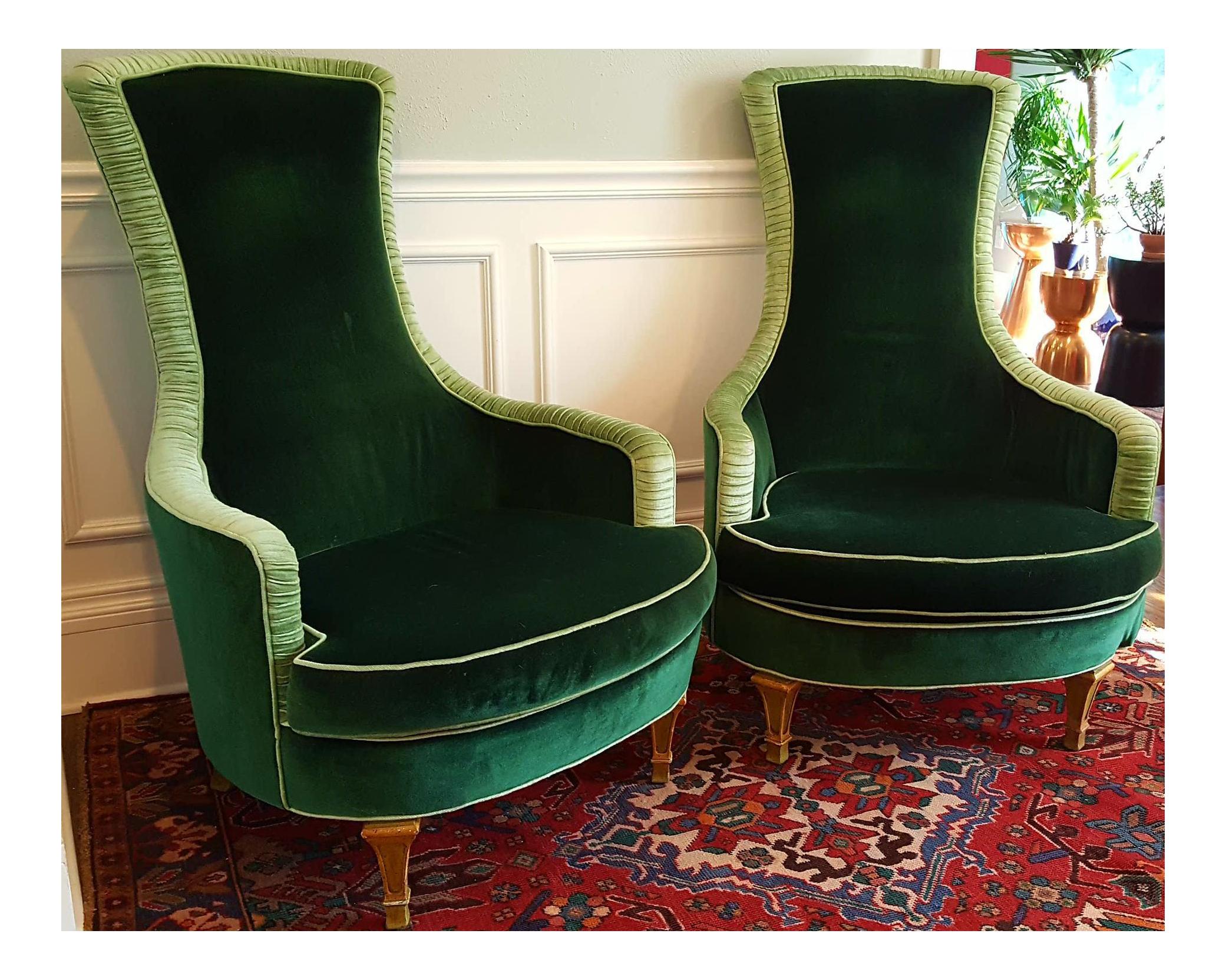 Emerald Green Velvet Club Chairs A Pair