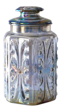 Iridescent Carnival Glass Canister Chairish