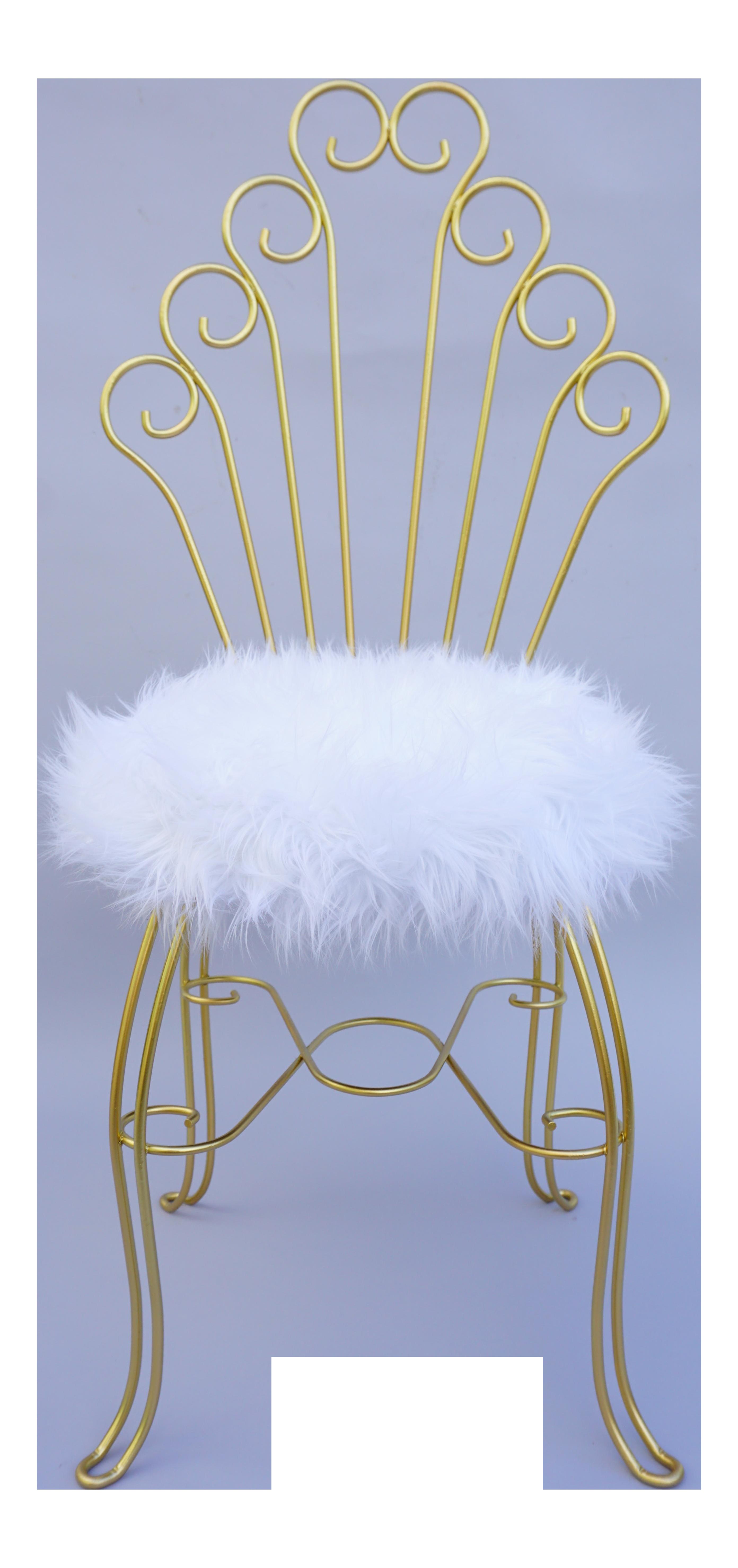 Vintage Hollywood Regency Gold Metal & Faux Fur Vanity Chair