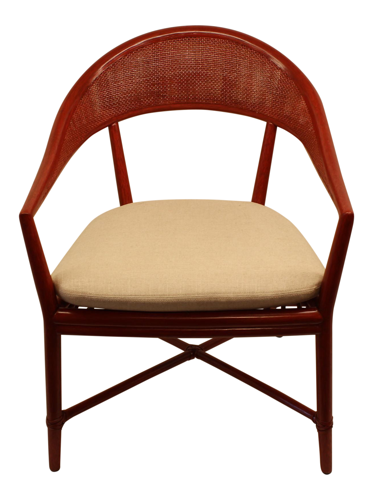 Antique barrel chair - Mcguire Roja Mallorca Chair