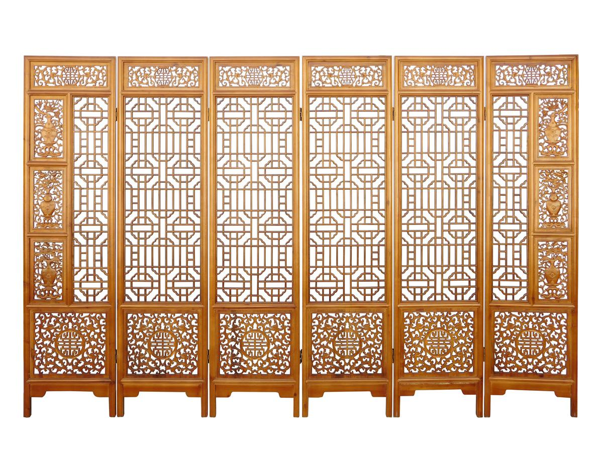 Image of Chinese Elm Wood Brown Floral 6 Panel Floor Screen - Chinese Elm Wood Brown Floral 6 Panel Floor Screen Chairish