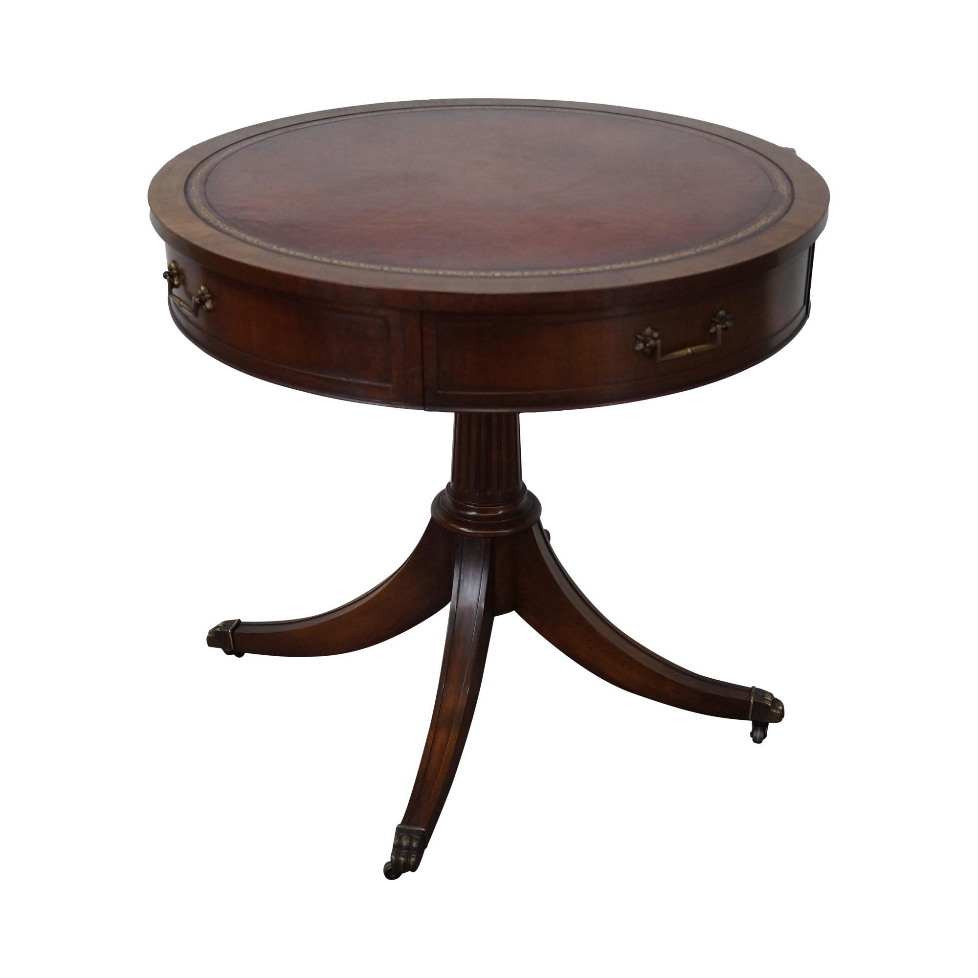 Antique Round Leather Top Coffee Table: Weiman 1940s Mahogany Round Leather Top Drum Table