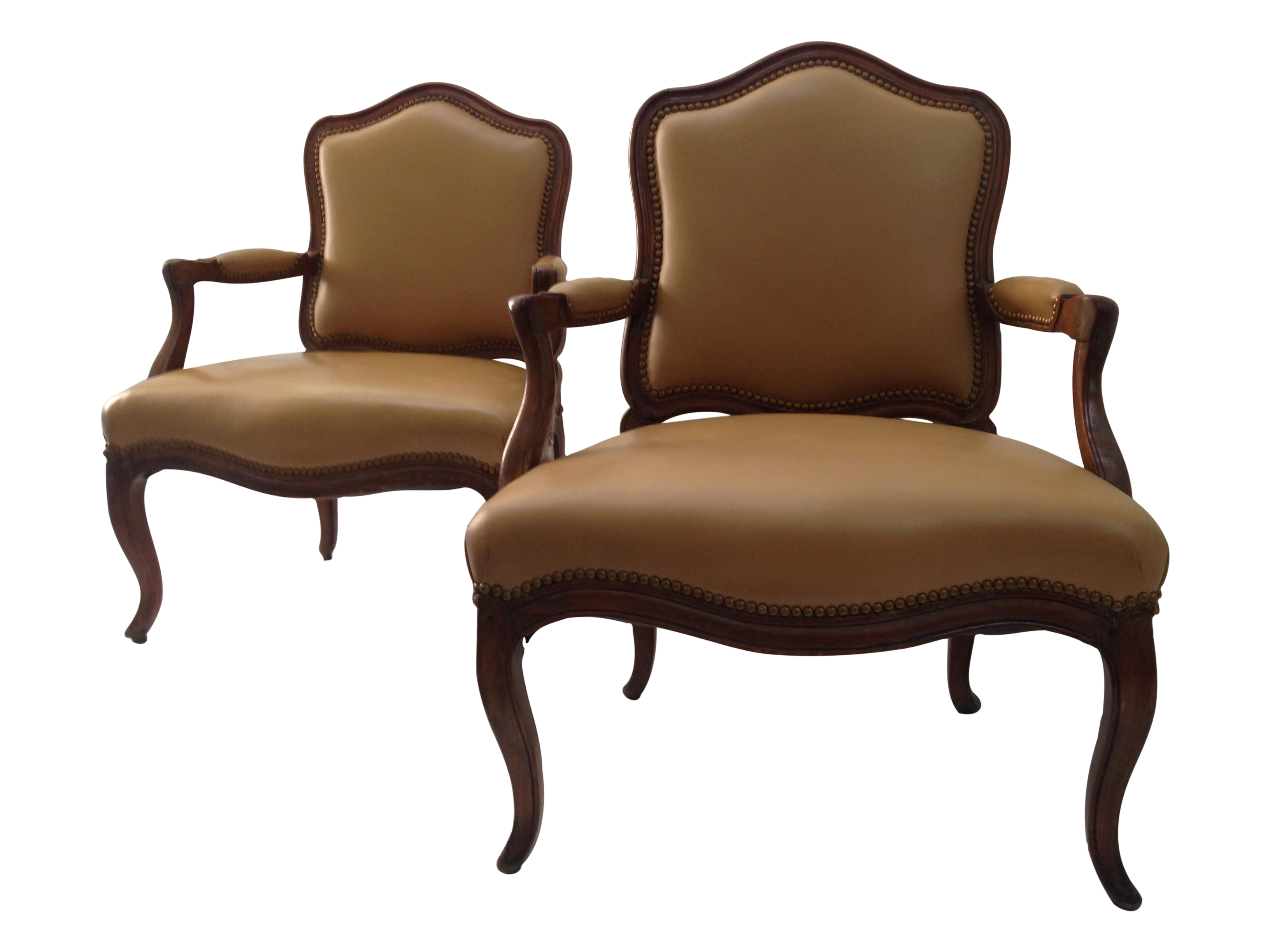 Maison jansen style leather bergere chairs pair chairish for Table bergere